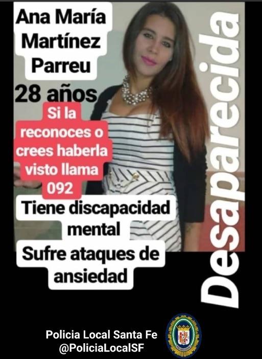La Policía Local de Santa Fe pide colaboración para localizar a una joven desaparecida desde el 1 de marzo