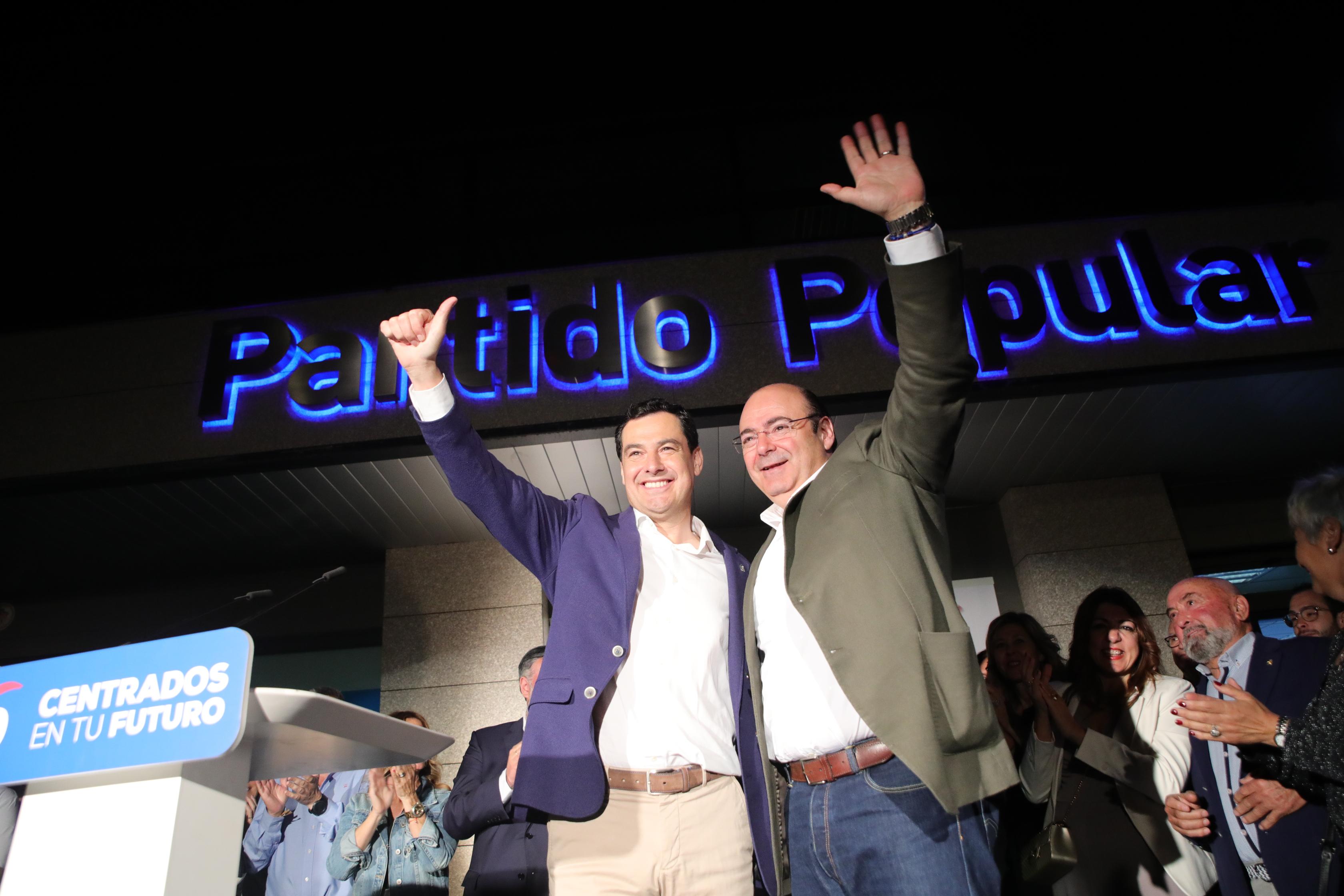 #26M: Juanma Moreno arropa a Sebastián Pérez en la apertura de una campaña popular «por la Granada de primera»