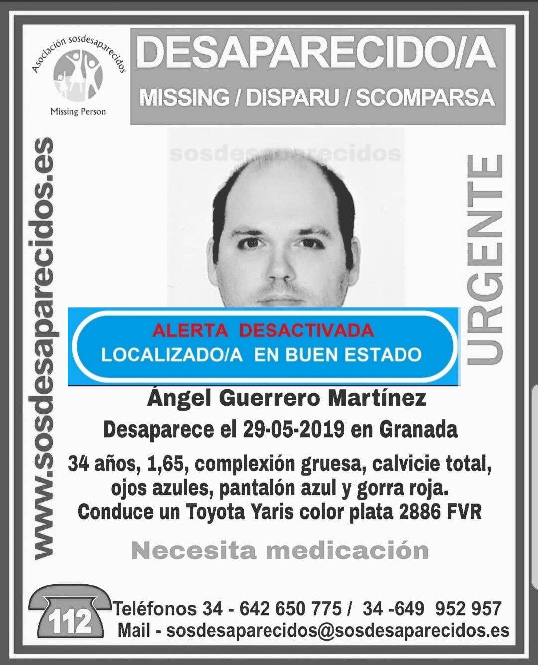 Localizan al hombre desaparecido en Granada