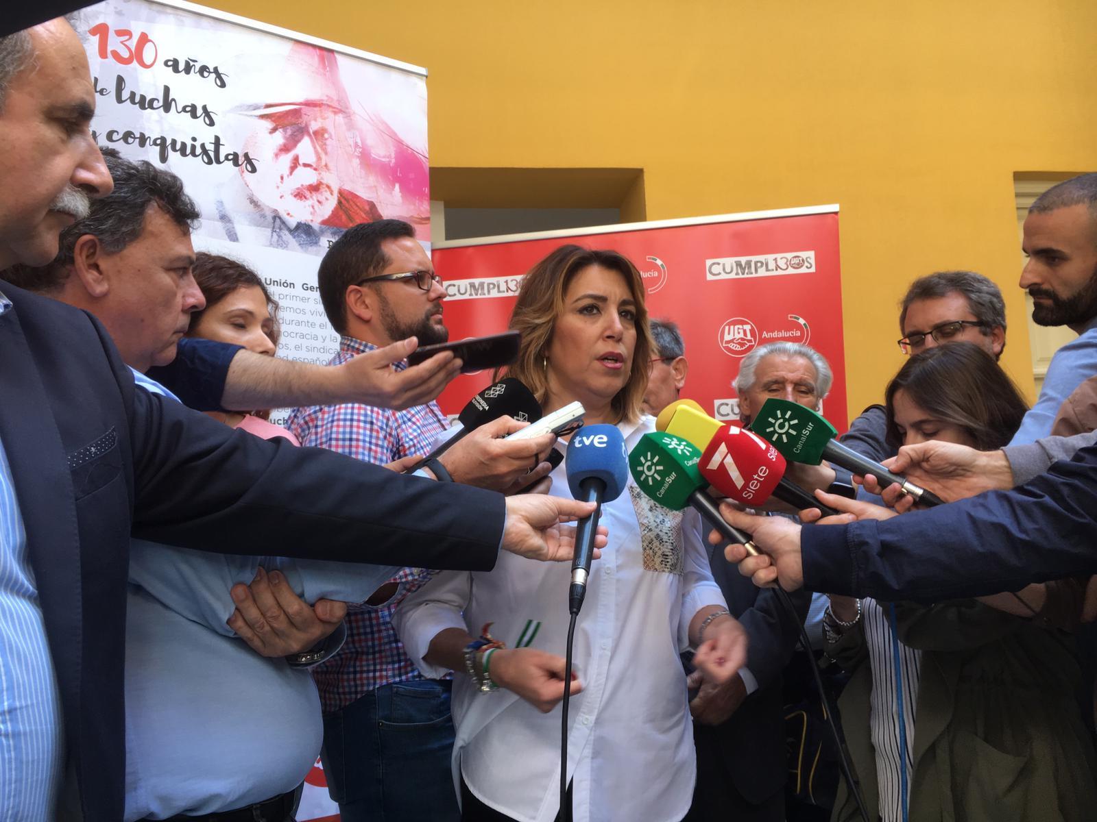 Susana Díaz y Carmen Castilla inauguran la exposición '130 Aniversario de UGT'