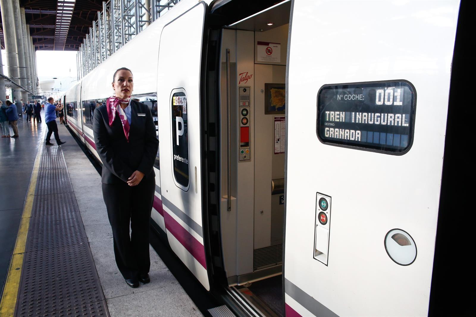 El primer AVE llega a Granada cumpliendo el horario previsto