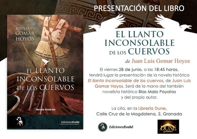 José Luis Gomar Hoyos presenta su nueva novela «El llanto inconsolable de los cuervos»