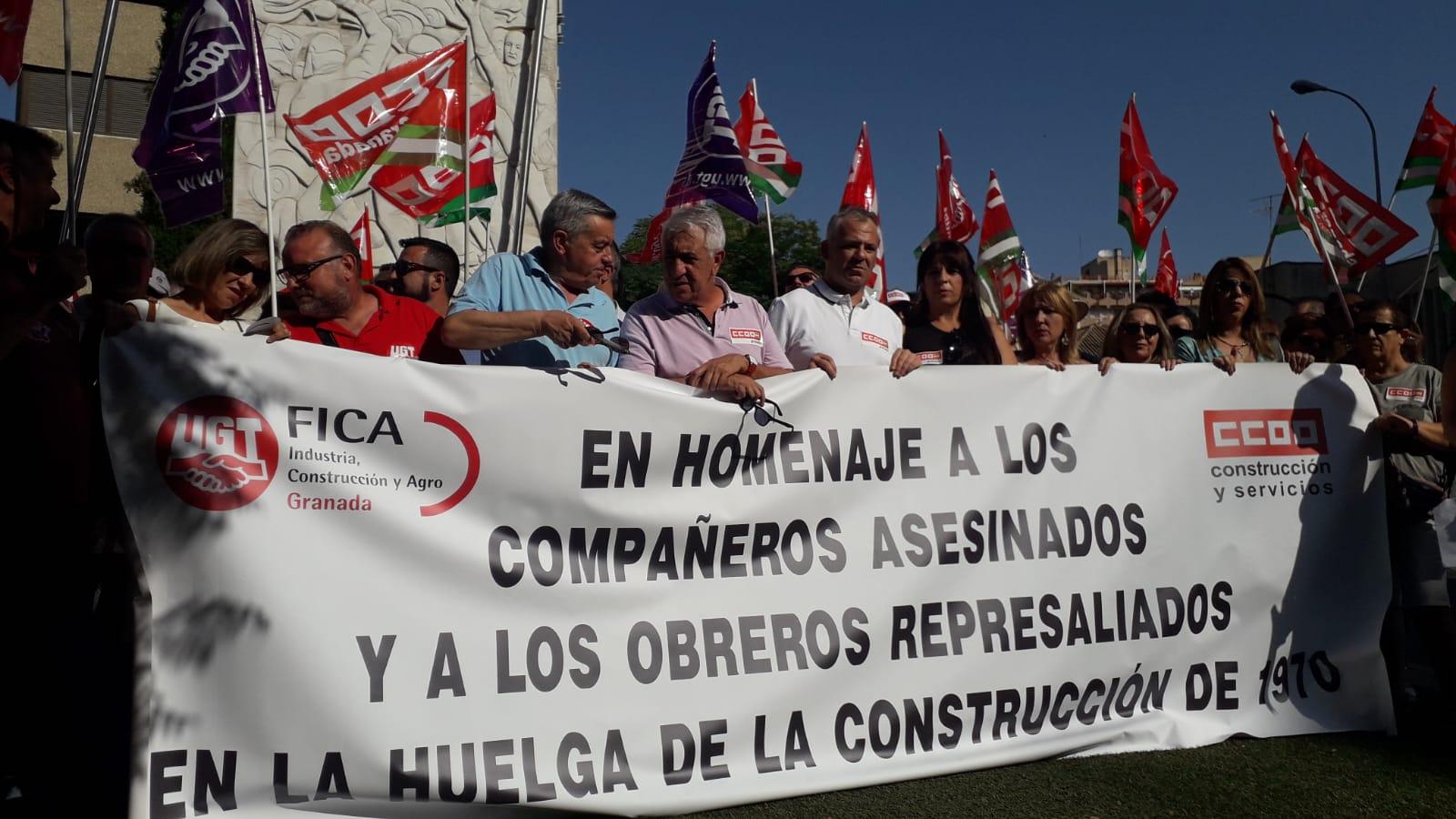 CCOO y UGT rinden homenaje a los tres obreros asesinados en la Huelga de la Construcción de 1970