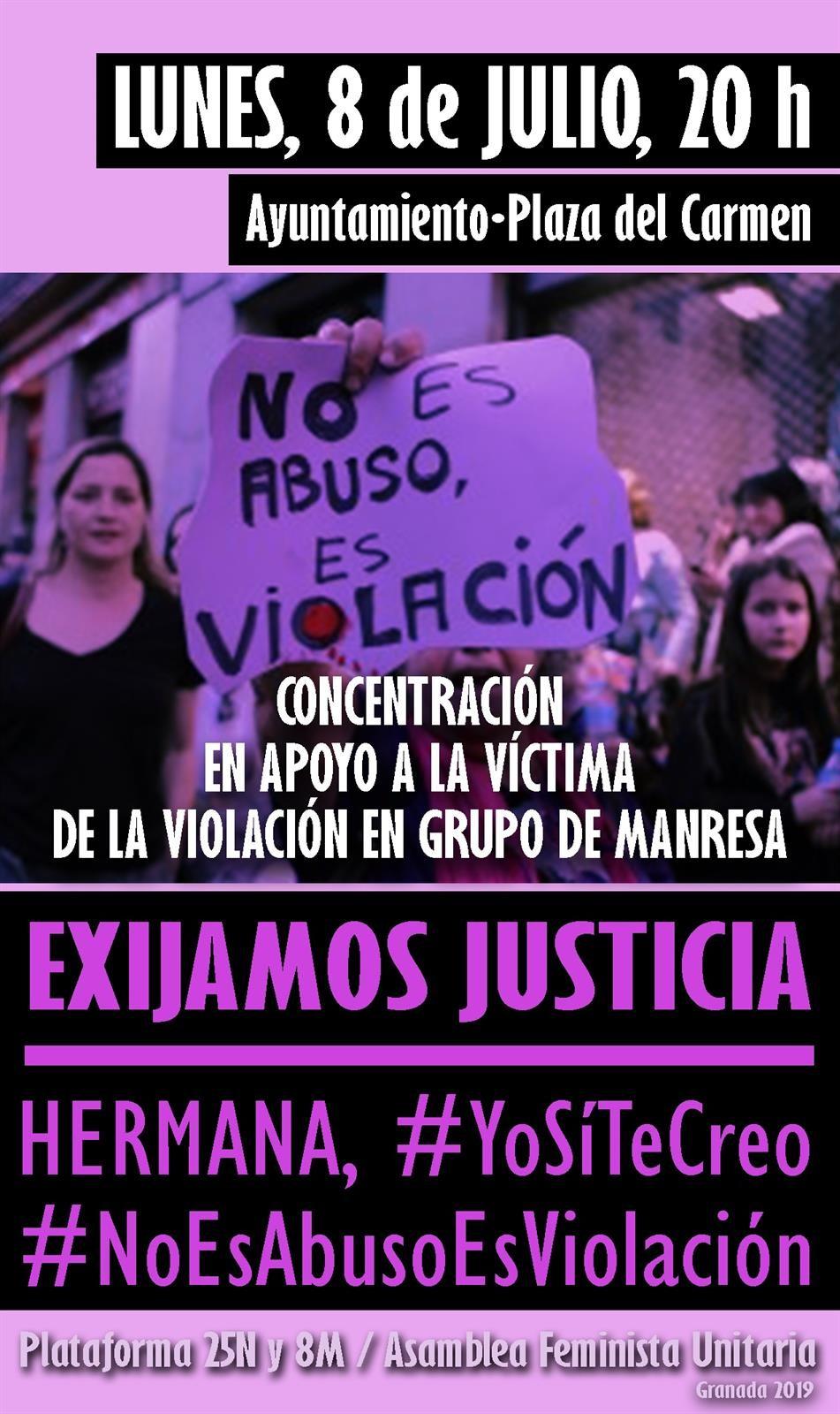 Asociaciones feministas convocan una concentración en Granada en apoyo a la víctima de Manresa