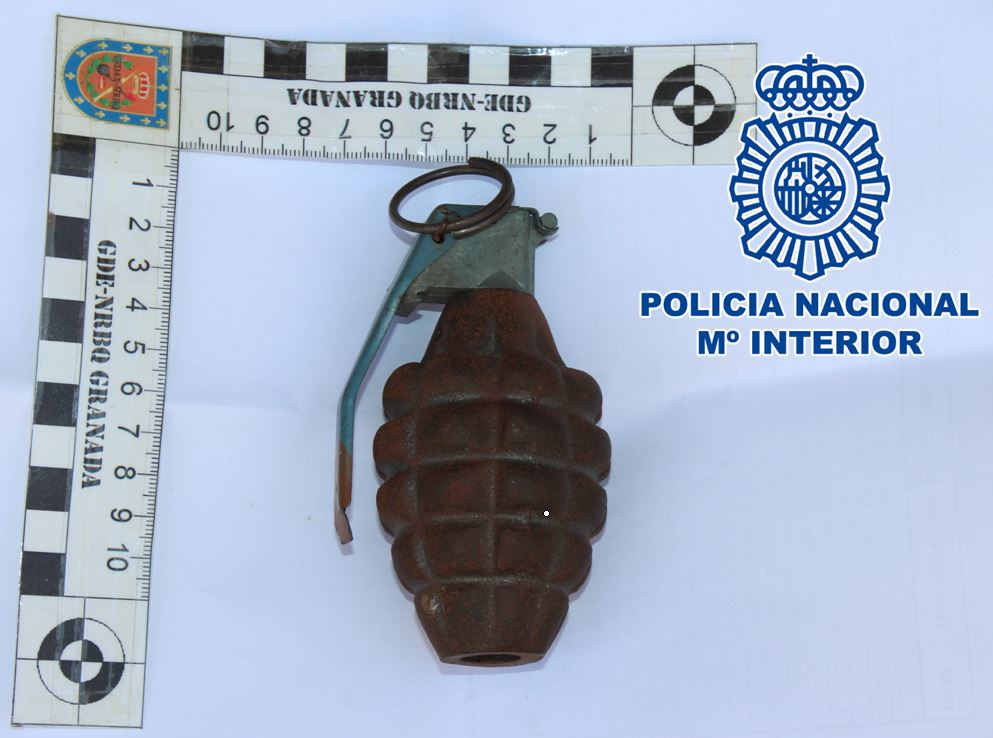 Intervenida una granada de la Segunda Guerra Mundial que había sido enviada por correo