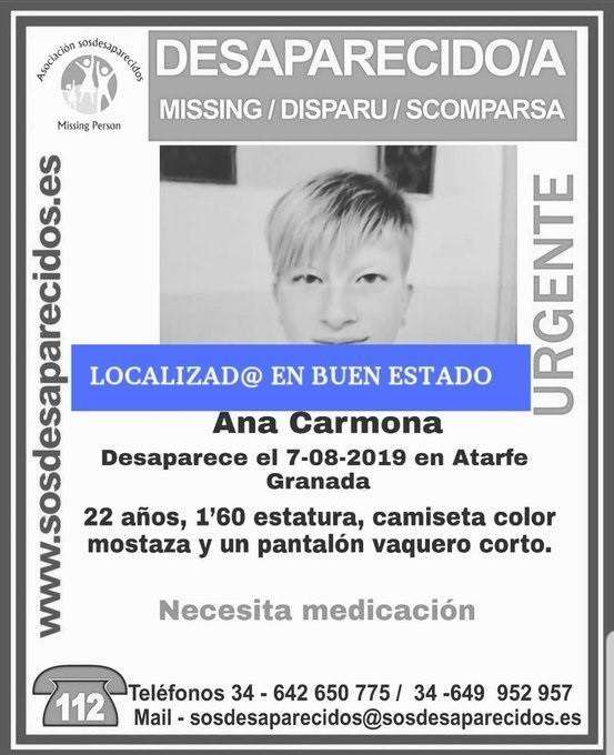 Localizada en buen estado la joven desaparecida en Atarfe