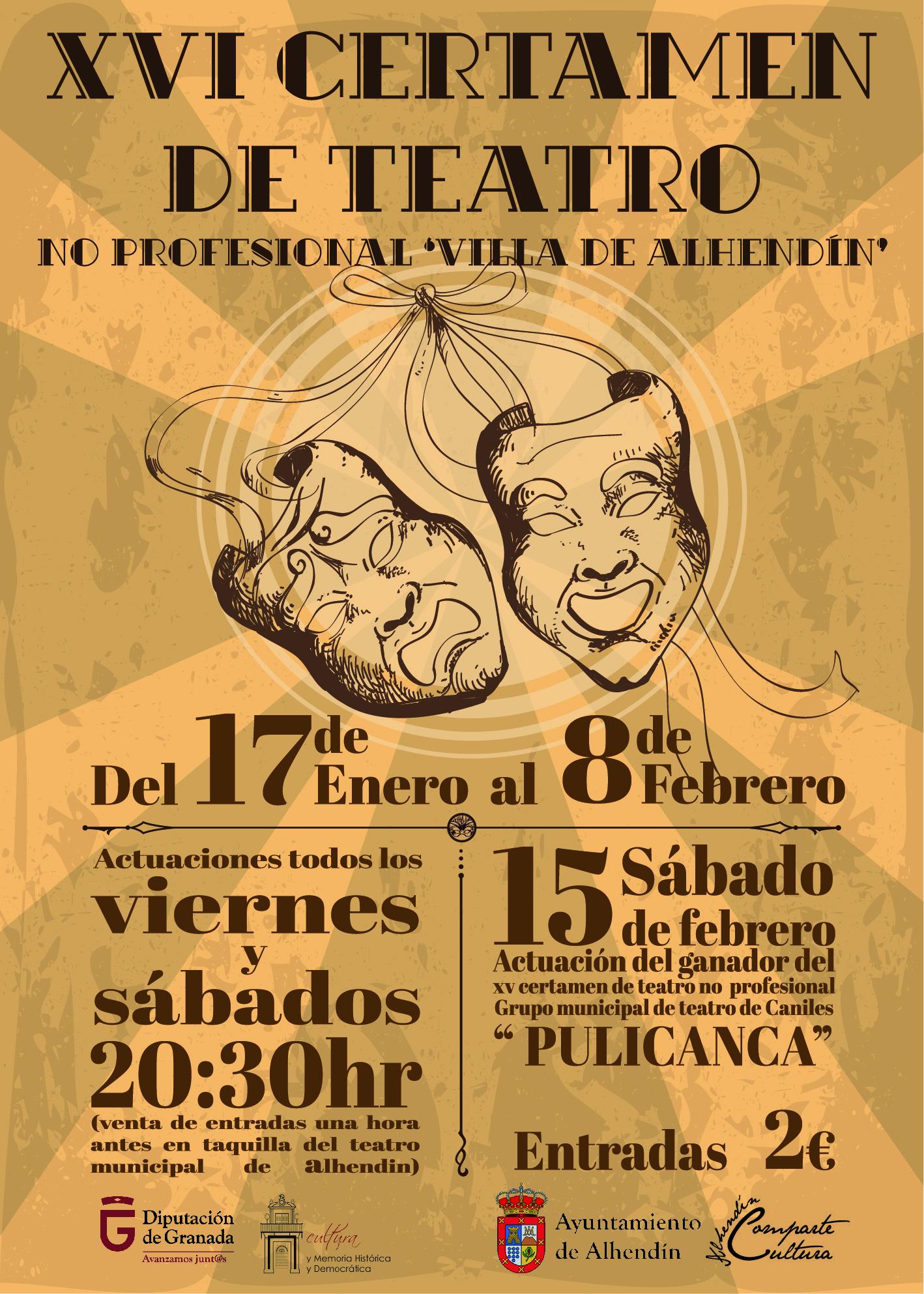 El Certamen de Teatro no profesional de Alhendín inaugura mañana su XVI edición