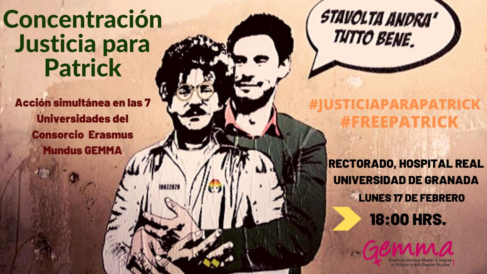 Recogida de firmas de Amnistía Internacional y concentración para pedir la libertad de Patrick Zaki