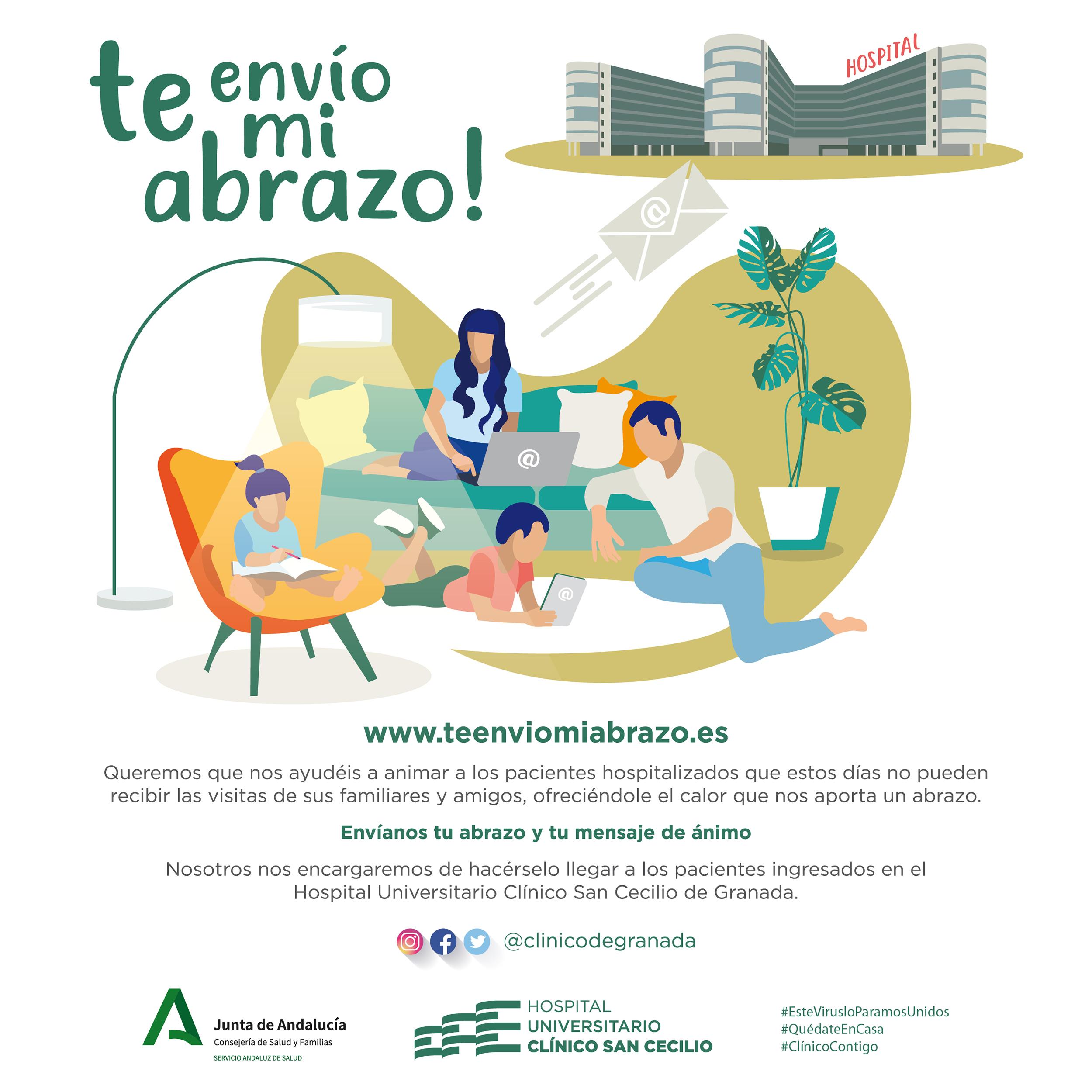 El Hospital San Cecilio pone en marcha la campaña de humanización 'Te envío mi abrazo' dirigida a los pacientes ingresados con coronavirus
