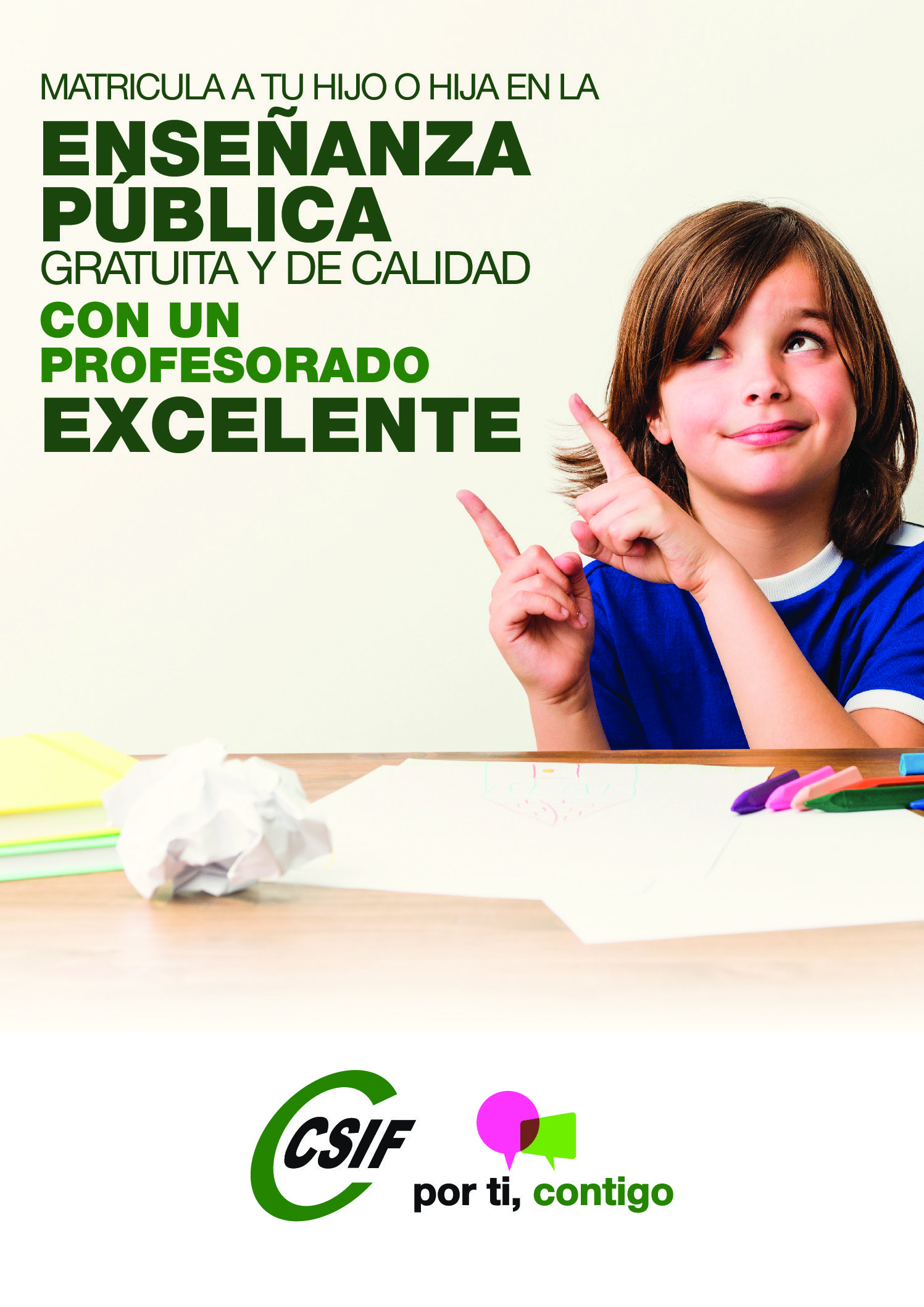 CSIF anima a escolarizar en la red de centros educativos públicos a través de una campaña