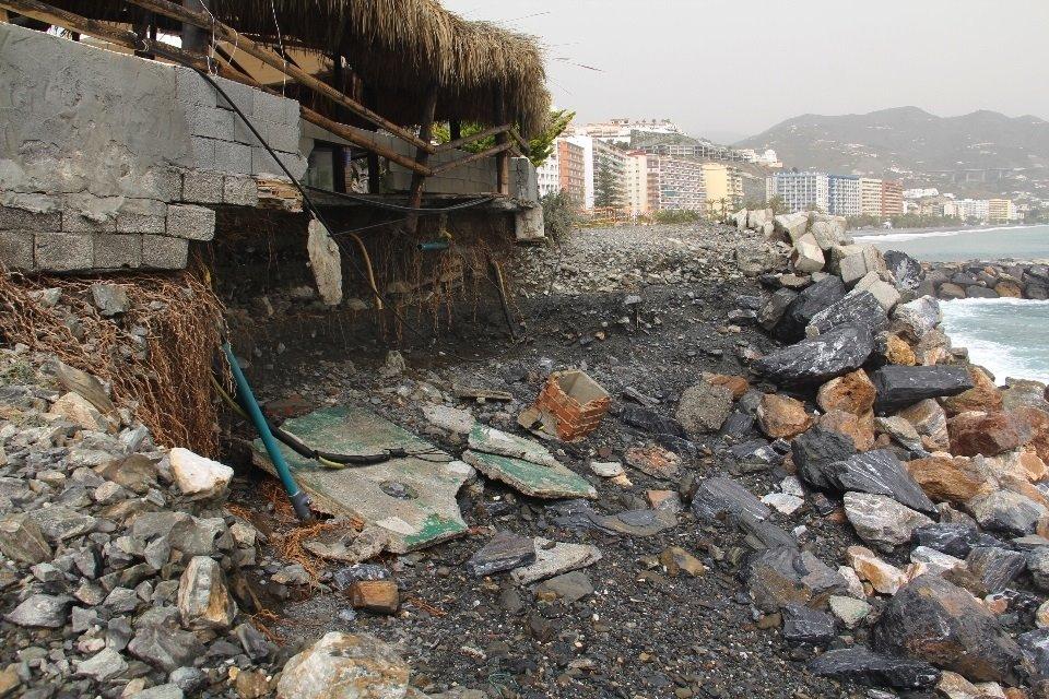Almuñécar pide a Costas 1,35 millones de euros para corregir los daños en playas del último temporal