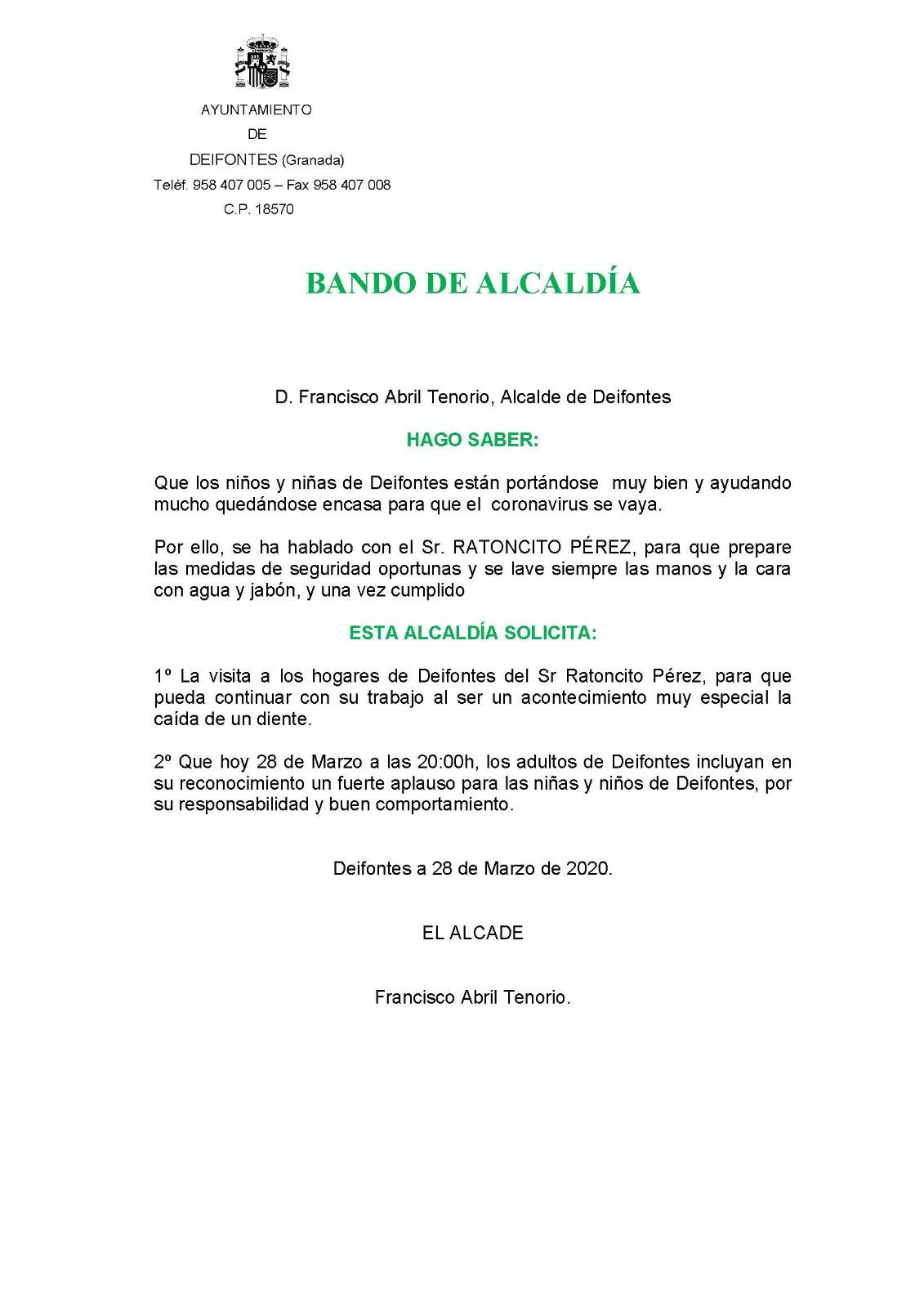 Deifontes «autoriza» el trabajo del Ratoncito Pérez durante el confinamiento