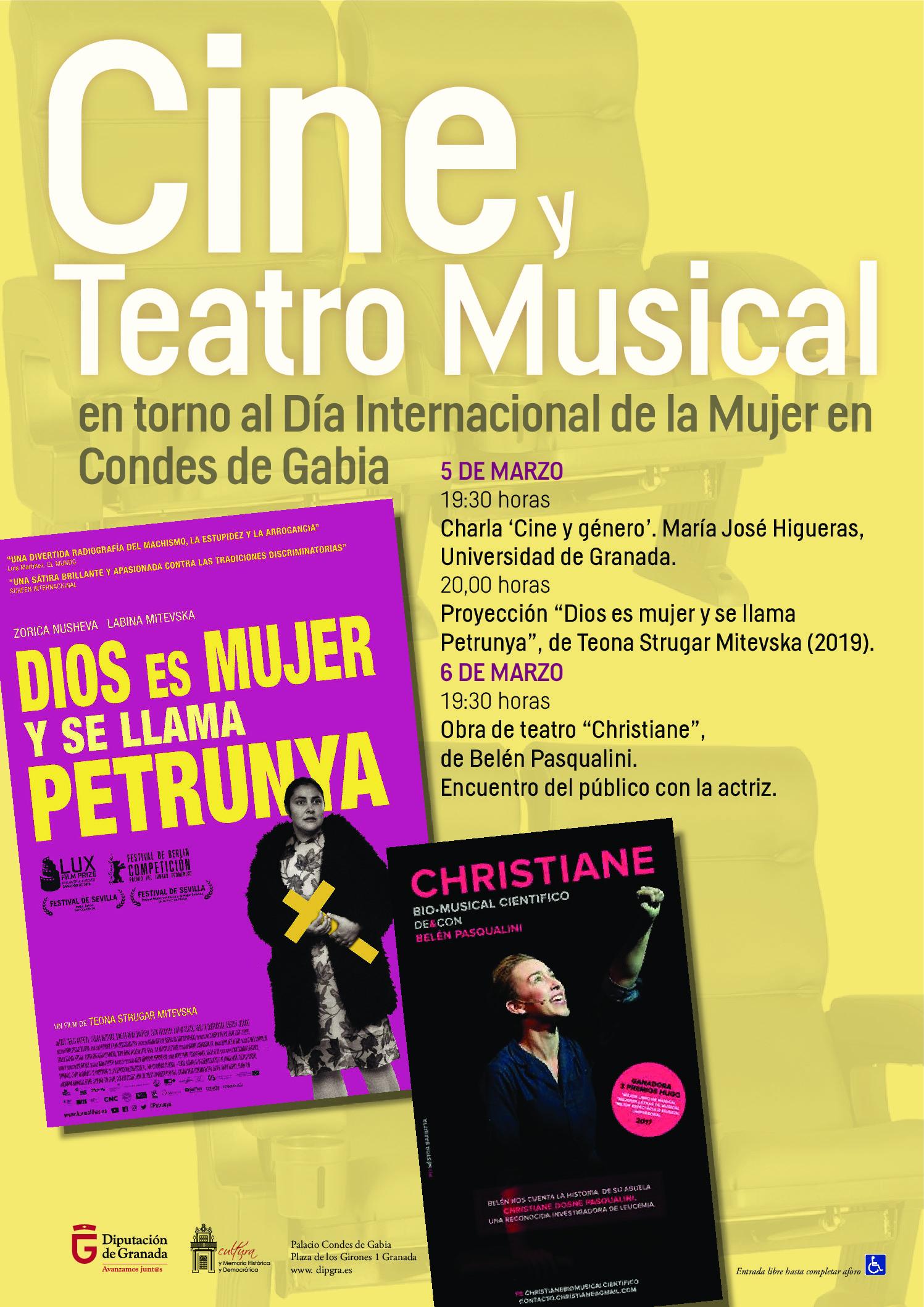Cine y teatro musical por el Día de las Mujeres en el Palacio Condes de Gabia de Diputación