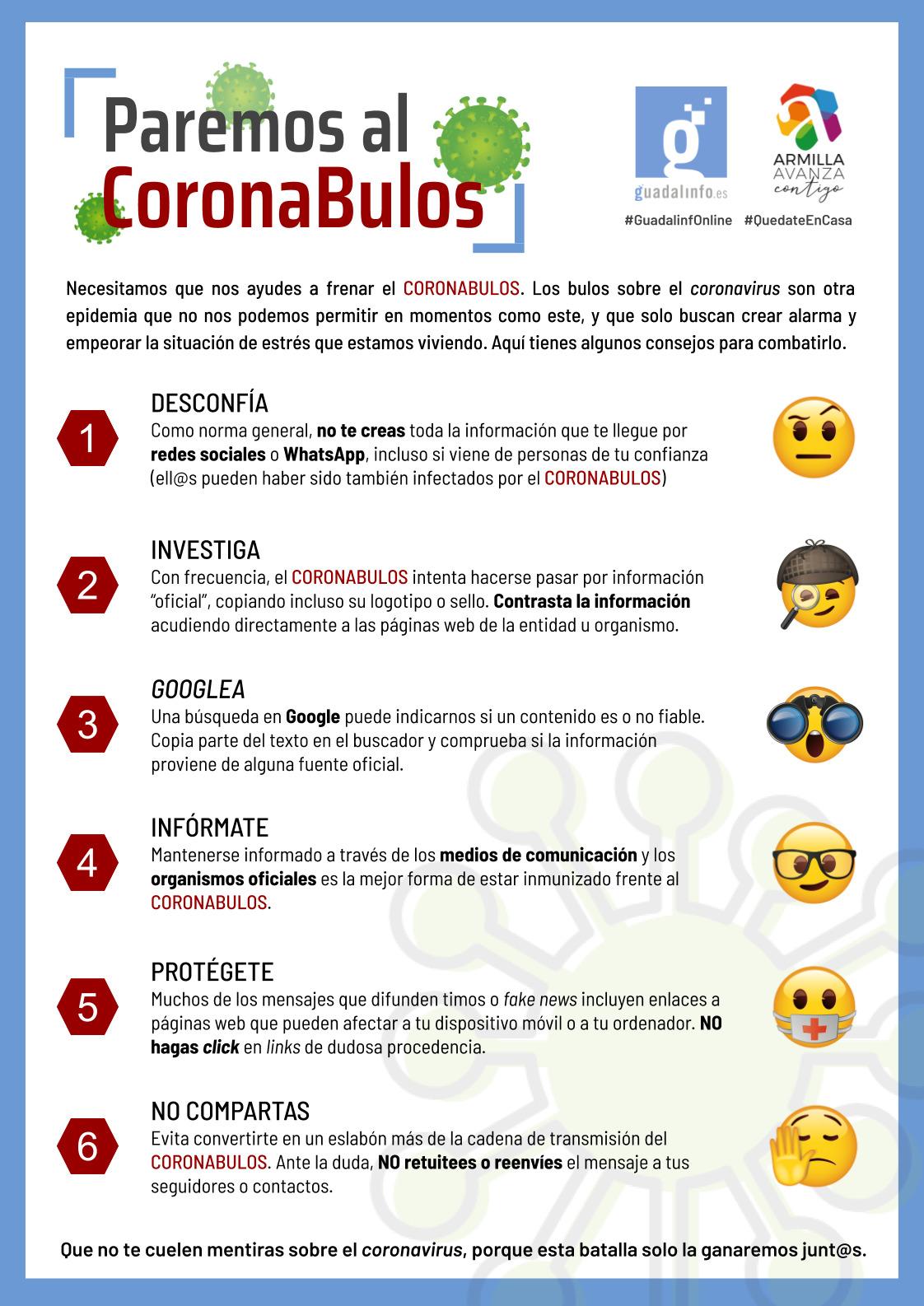 El Ayuntamiento de Armilla elabora una guía para identificar «coronabulos»