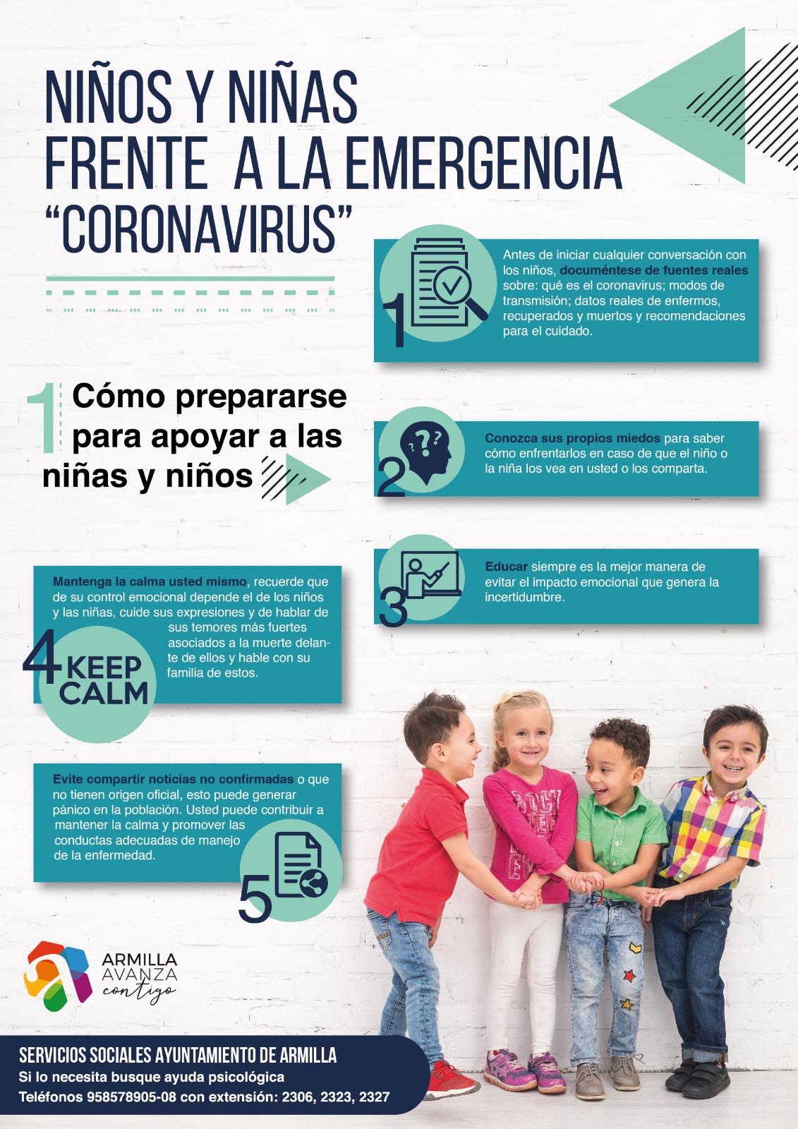 Armilla elabora una guía con recomendaciones para informar sobre el coronavirus a los niños y niñas