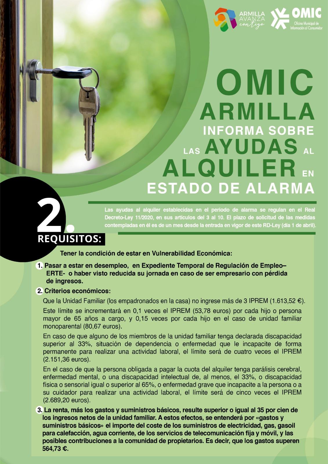 La OMIC de Armilla asesora sobre las ayudas de alquiler en Estado de Alarma