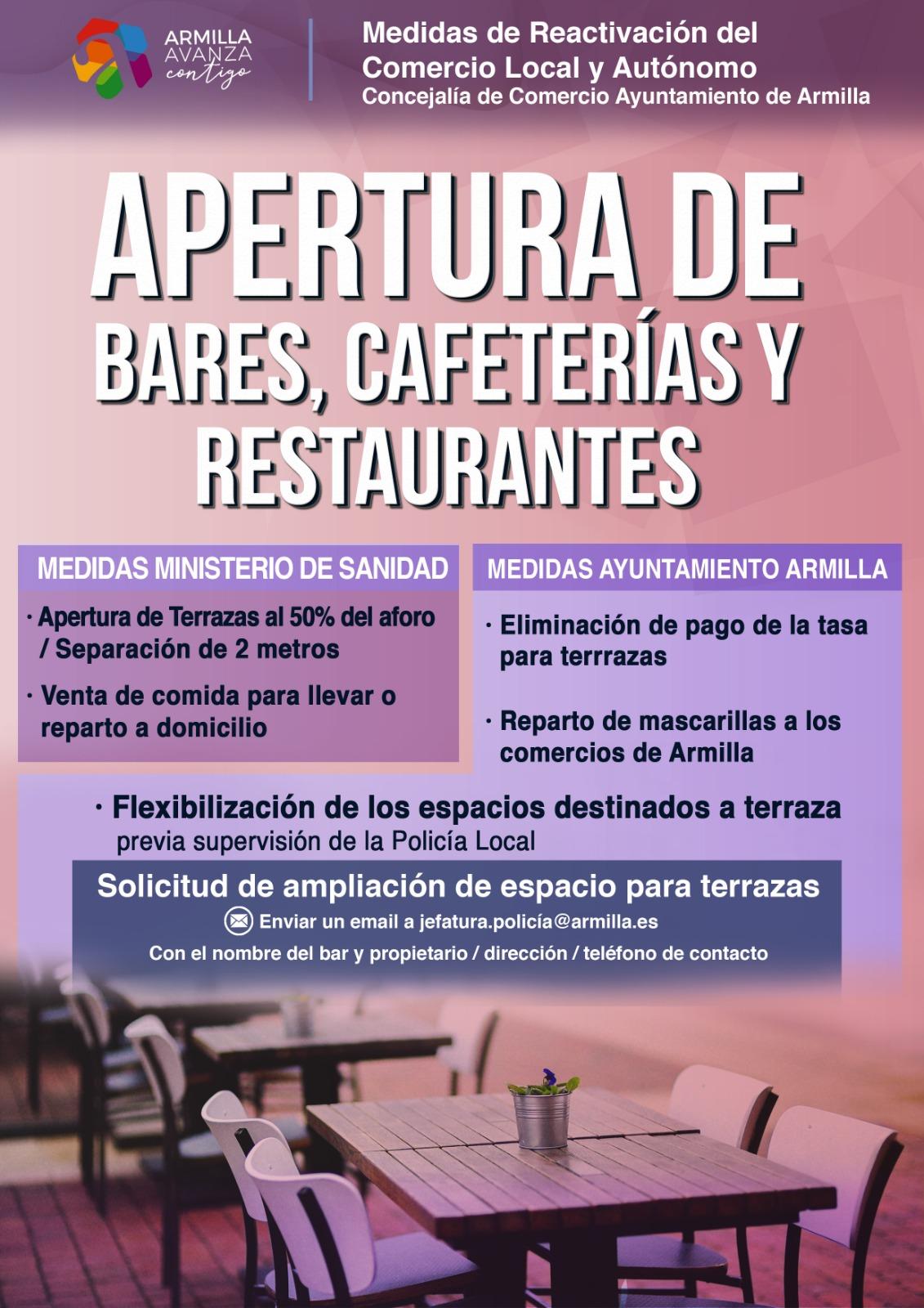 Bares, cafeterías y restaurantes de Armilla pueden solicitar la ampliación de las terrazas