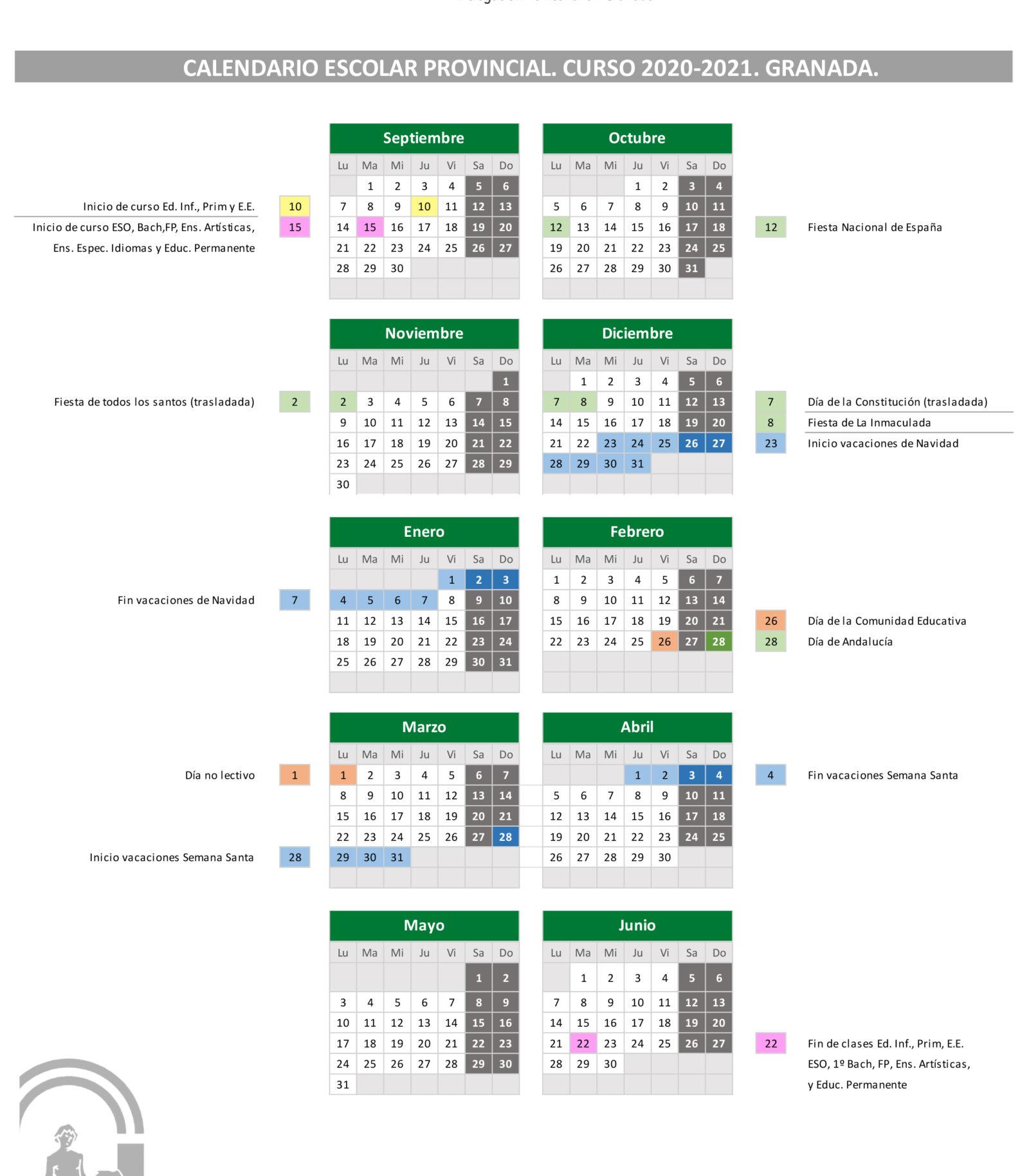 Calendario Escolar Granada 2020-21