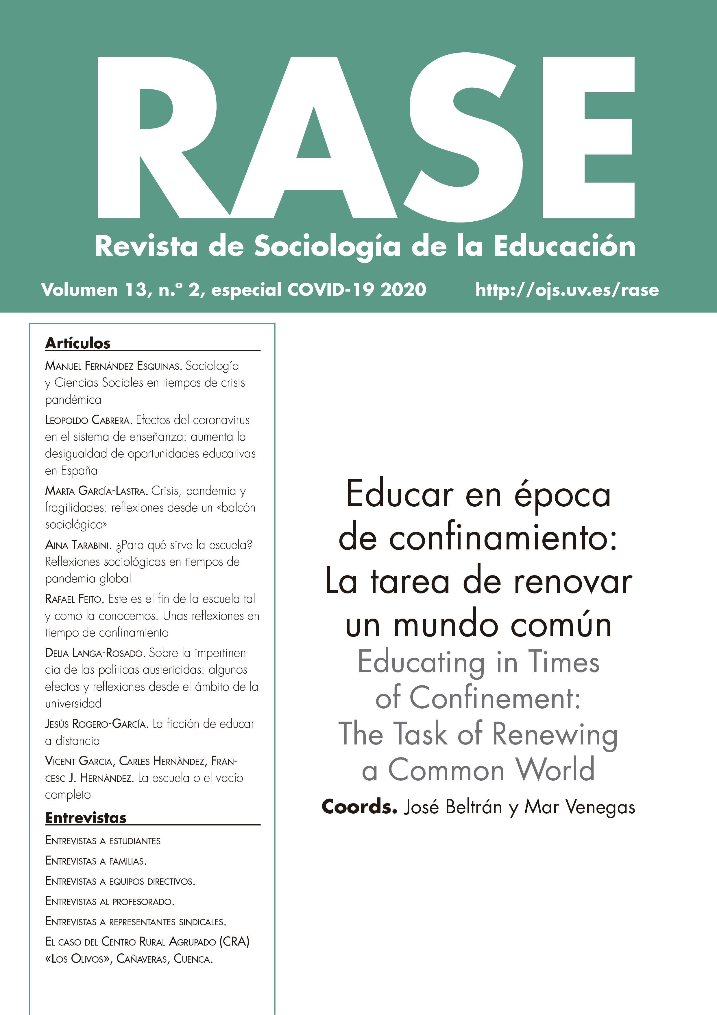 """""""Educar en época de confinamiento: la tarea de renovar un mundo común"""", número especial de RASE, Revista de Sociología de la Educación"""