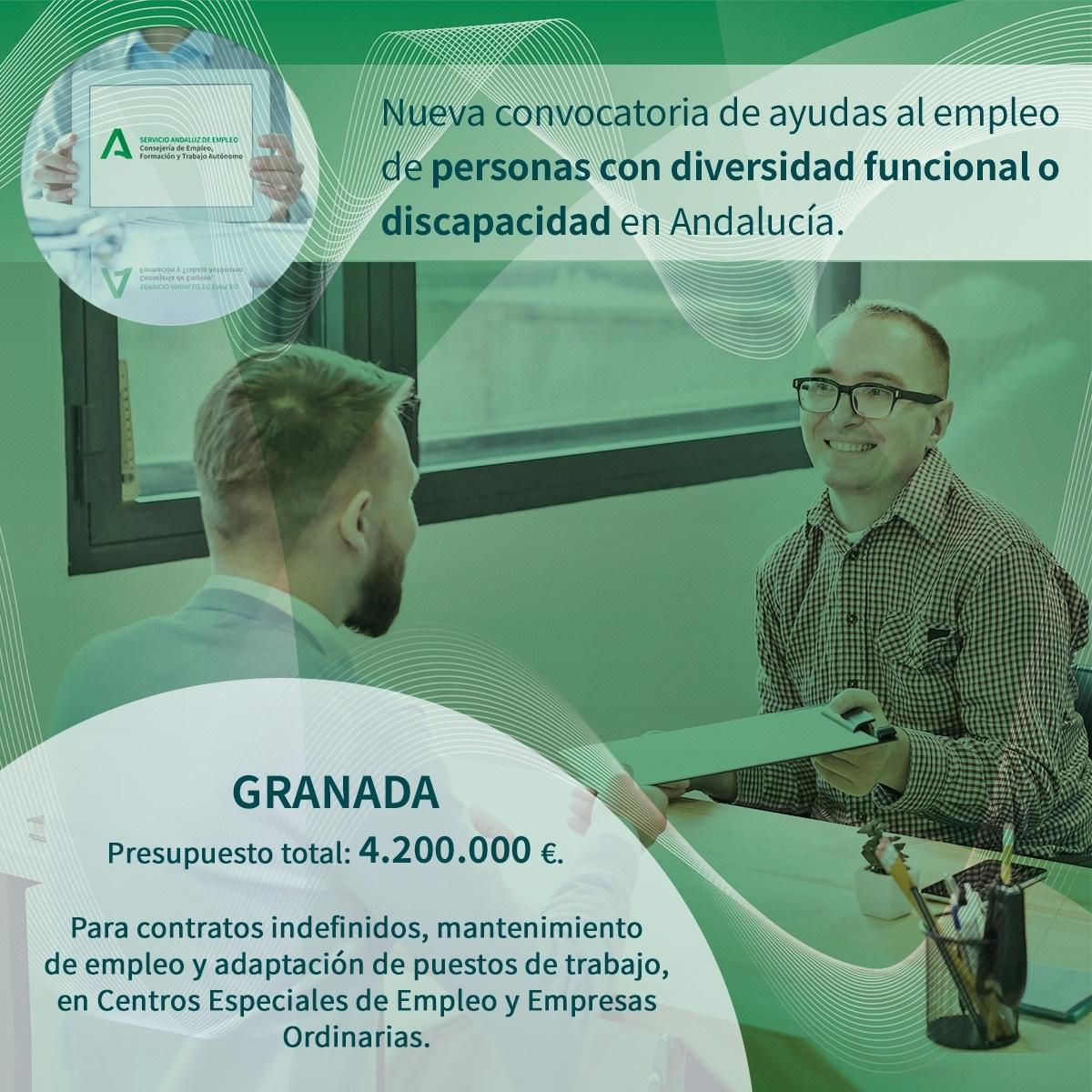 Empleo destina a Granada 4,2 millones para la contratación de personas con discapacidad