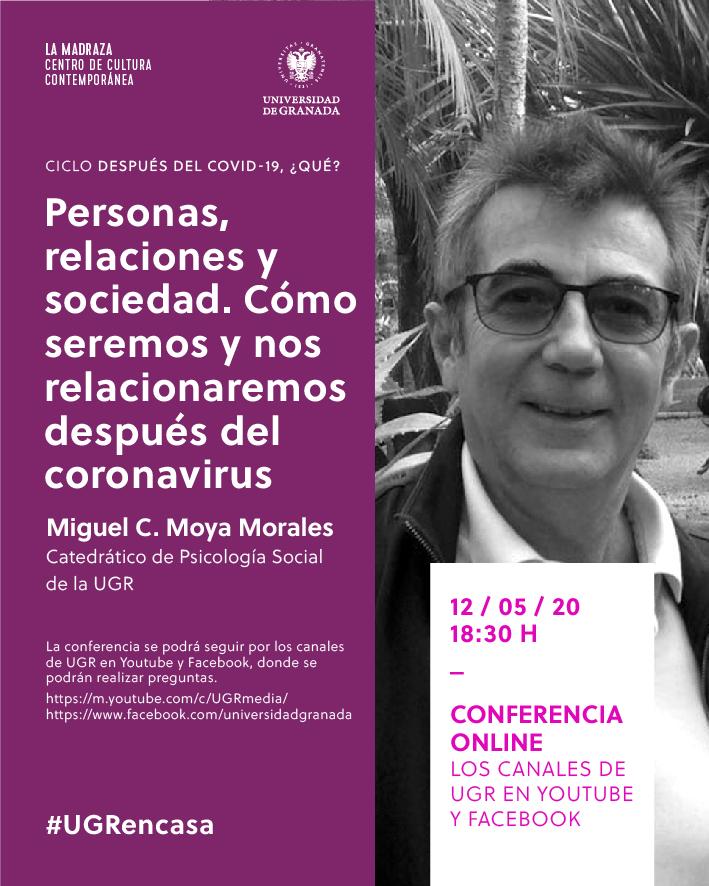 El catedrático Miguel Moya hablará de cómo la pandemia influirá en la psicología de las personas y en sus relaciones en el ciclo 'Después del covid-19, ¿qué?'