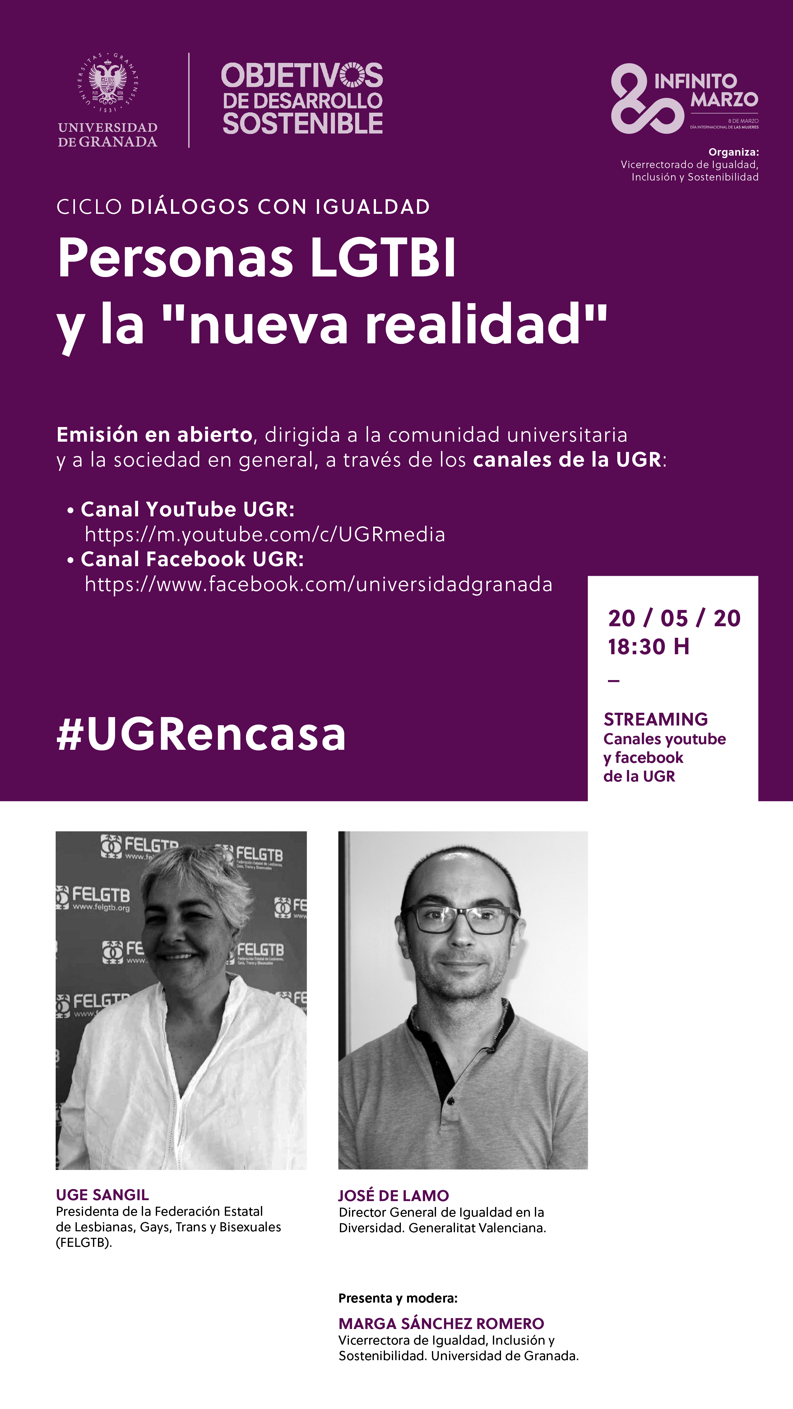 """El ciclo """"Diálogos con la Igualdad"""" de la UGR acoge el encuentro """"Personas LGTBI y la nueva realidad»"""