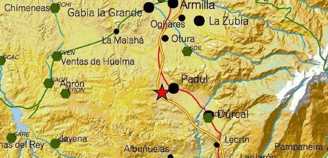 Registrado un terremoto de magnitud 2,2 con epicentro en Padul