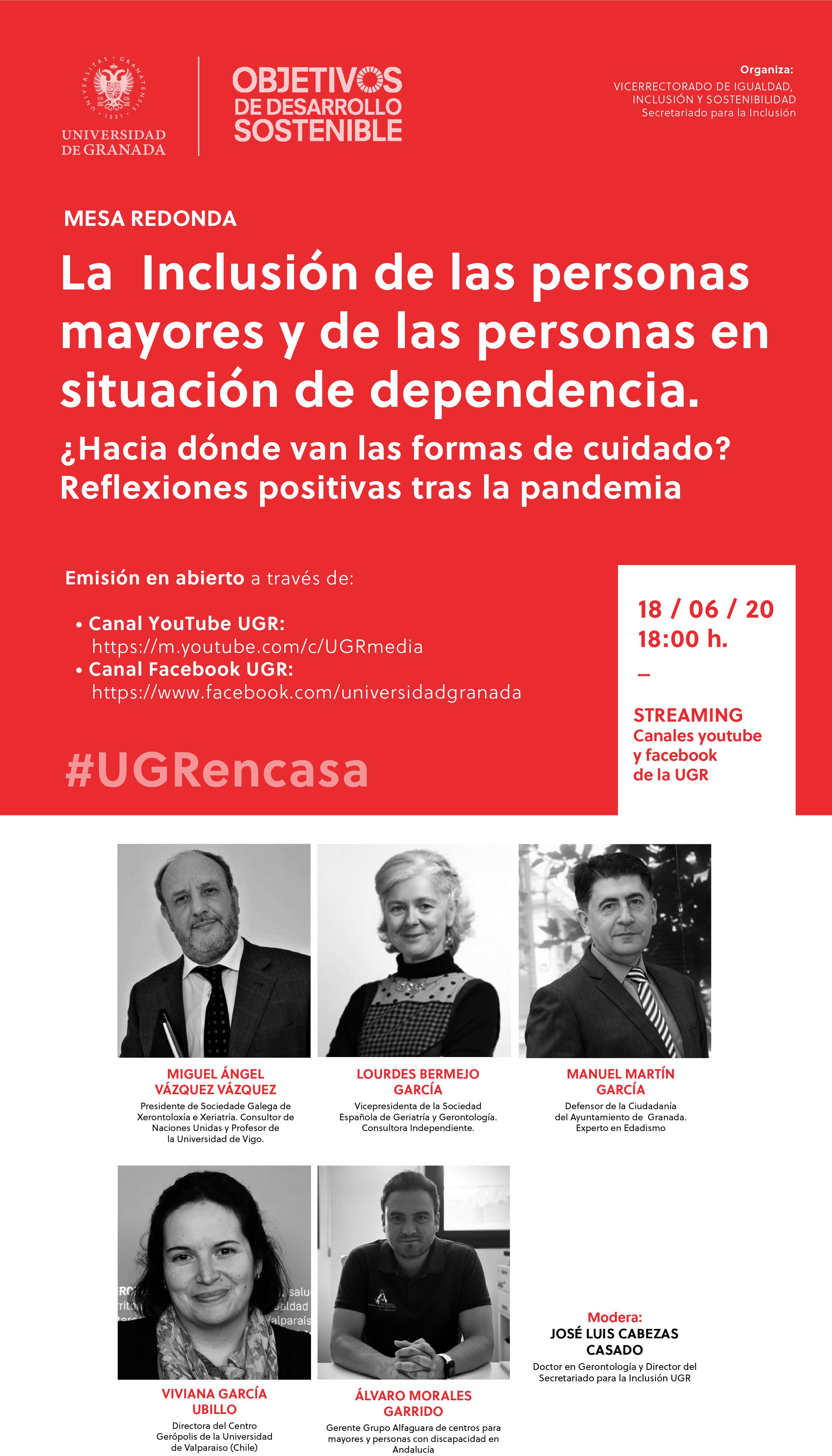 """La UGR organiza la mesa redonda """"La Inclusión de las personas mayores y de las personas en situación de dependencia"""""""