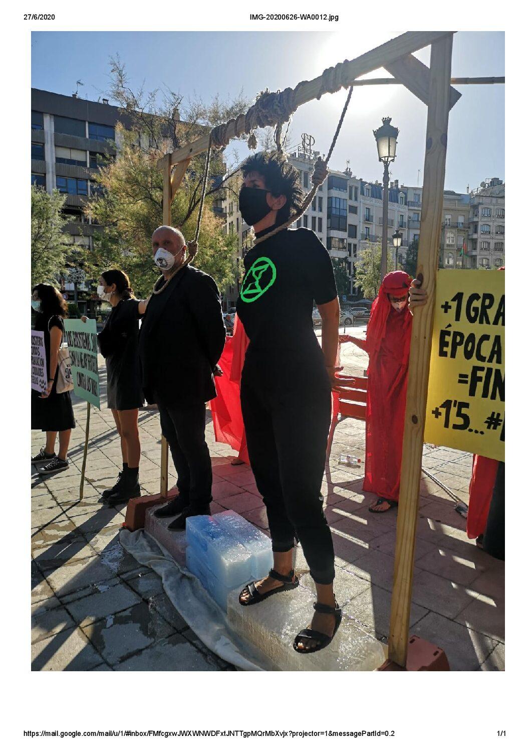 Acción de Extinction Rebellion para protestary concienciar sobre el cambio climático