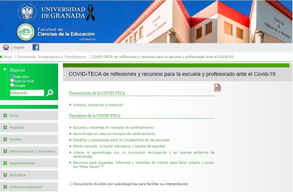 La Facultad de Educación de la UGR pone en marcha una 'COVID-TECA' con recursos didácticos dirigidos a profesores