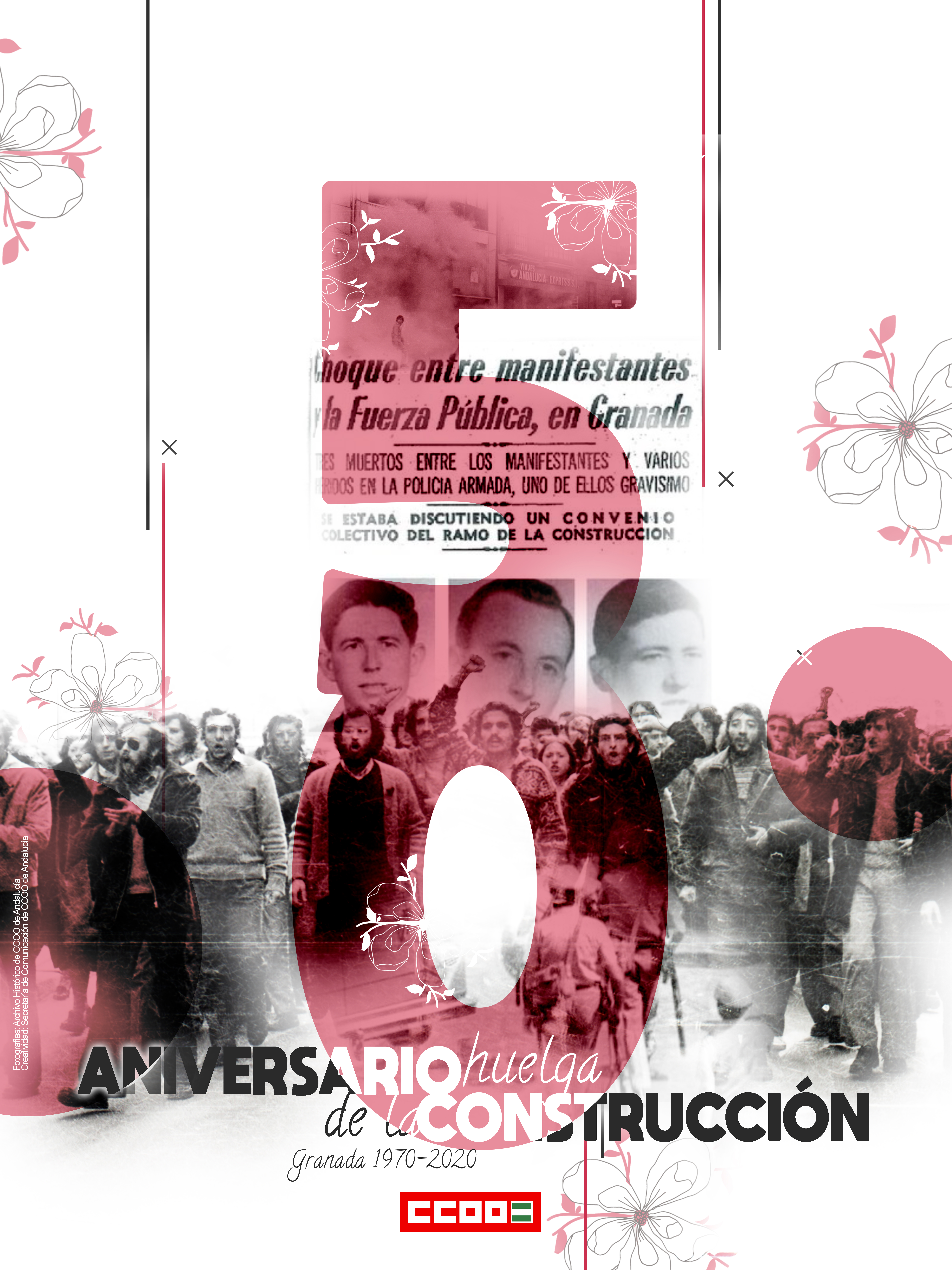CCOO rinde homenaje a los tres obreros de la construcción asesinados en el 50 aniversario de la huelga de 1970