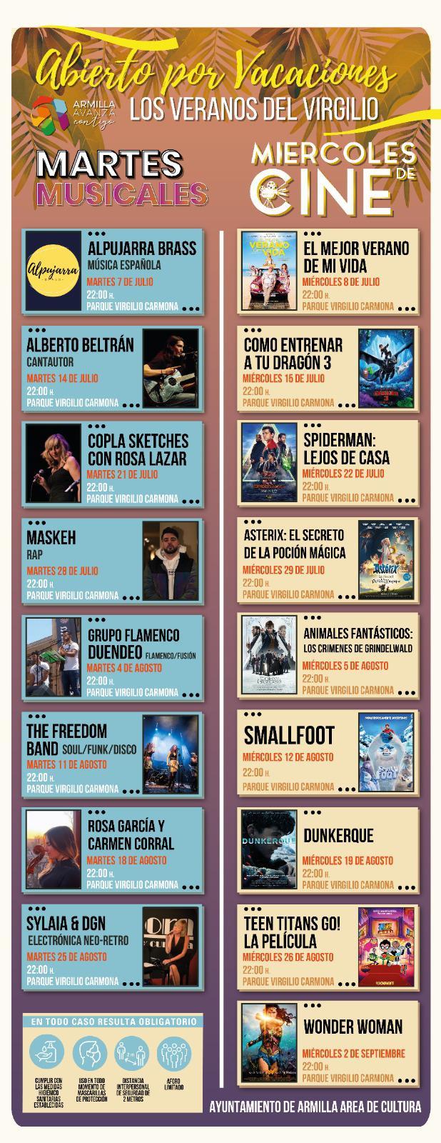 """Cine y música al aire libre en la programación """"Los veranos del Virgilio"""""""