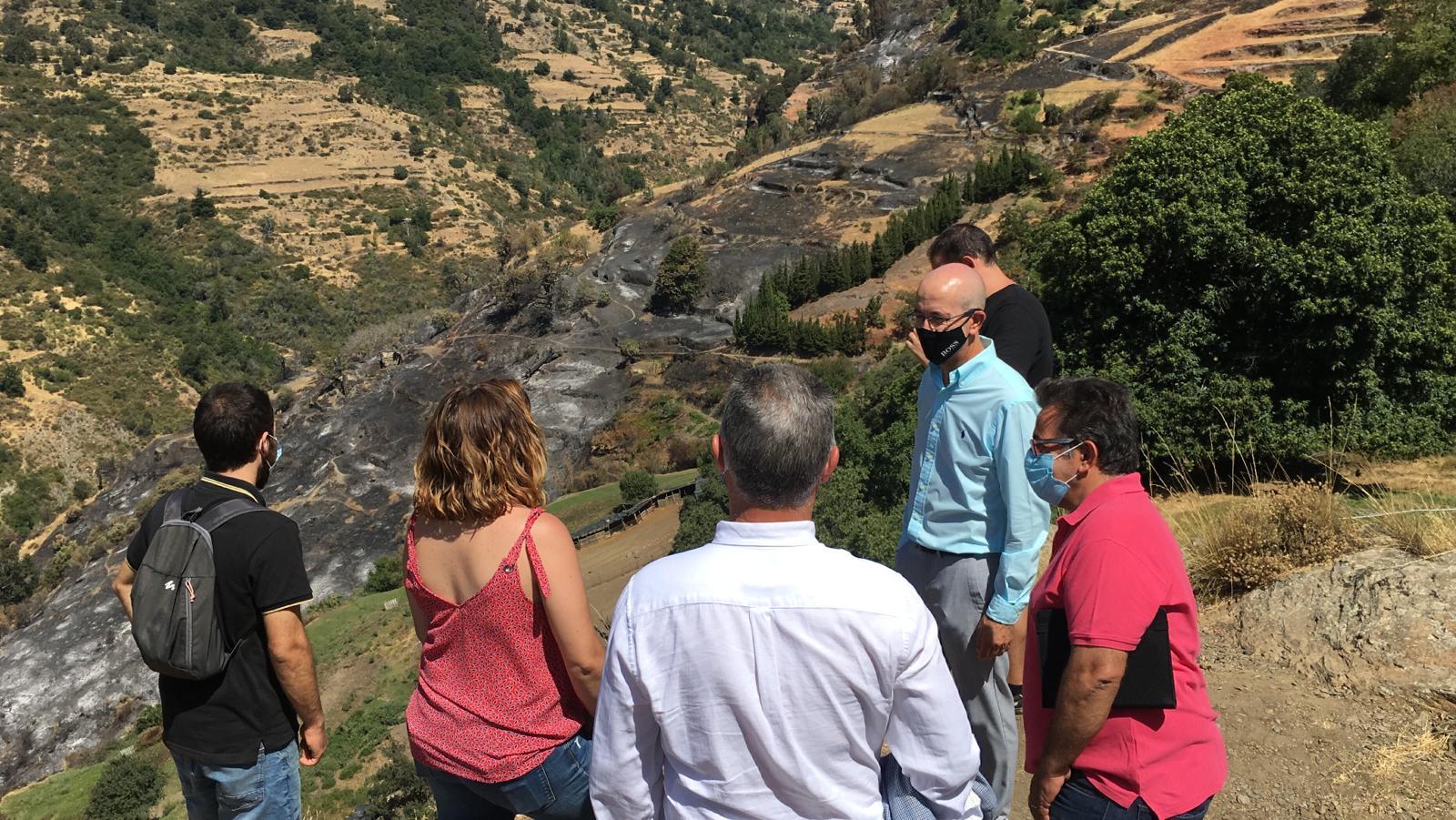 Diputación ofrece apoyo y asistencia técnica para recuperar las zonas afectadas por el incendio de Bubión