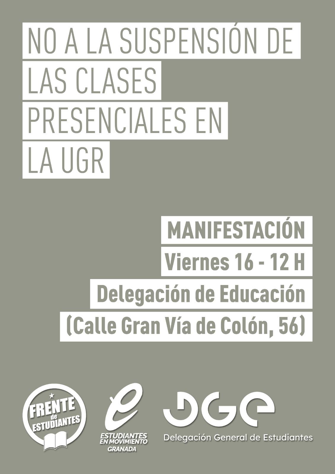 Estudiantes convocan manifestación ante el cierre de la Universidad de Granada