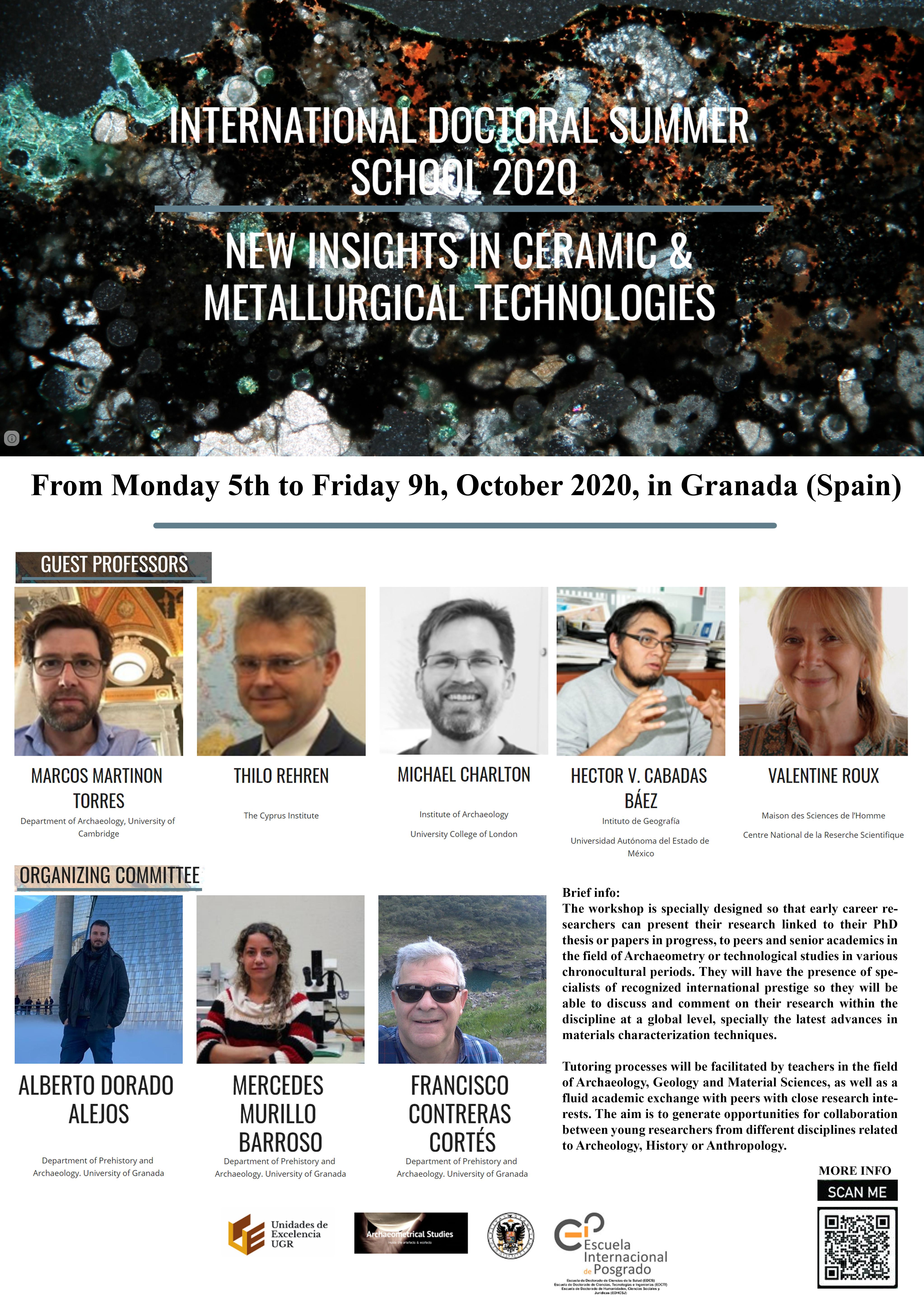 Los mayores expertos del mundo en estudios tecnológicos sobre cerámica y metalurgia en Arqueología participan en la International Doctoral Summer School 2020 de la UGR
