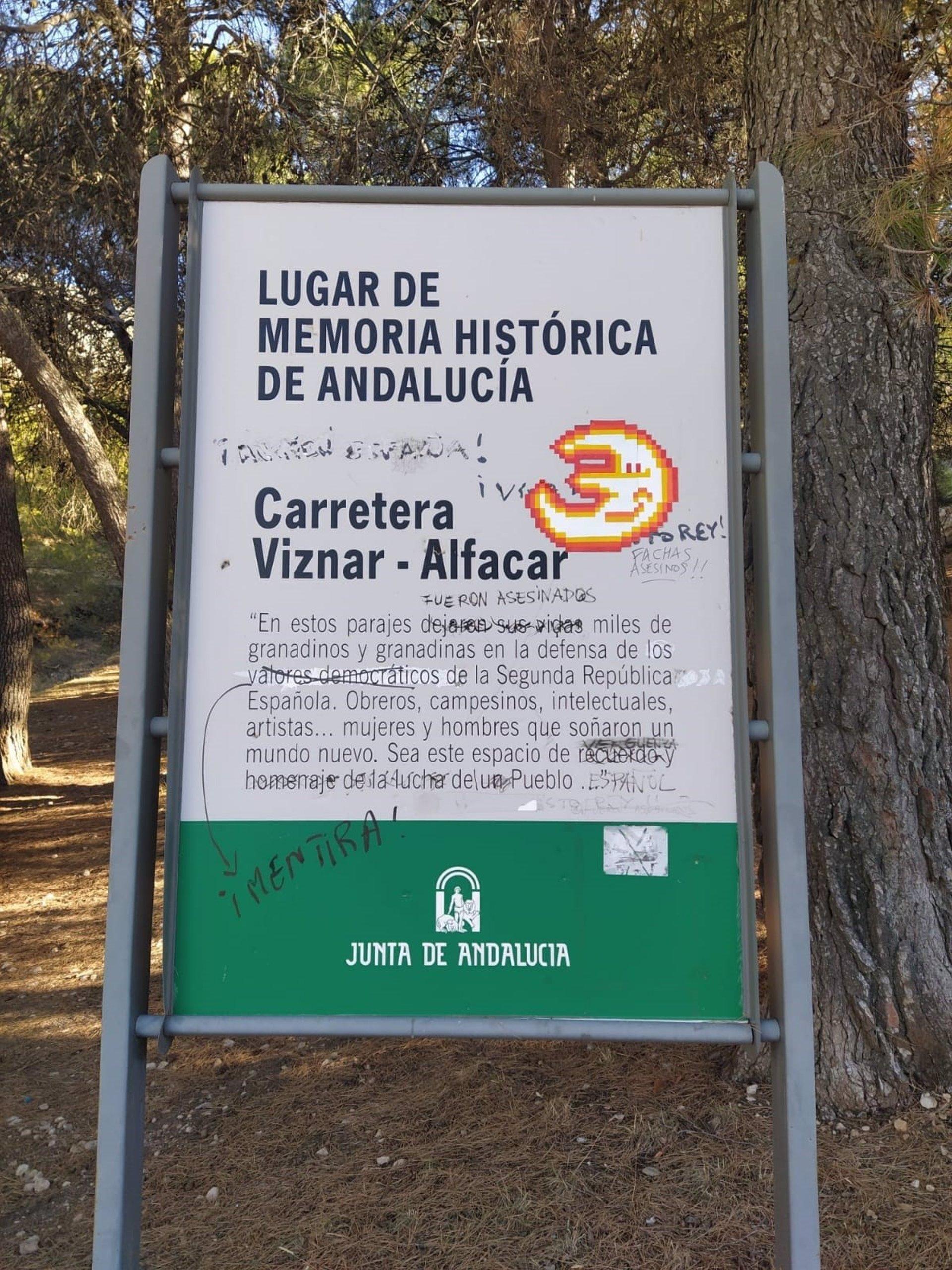 Nuevo acto vandálico en la placa del Barranco de Víznar, Lugar de Memoria Histórica