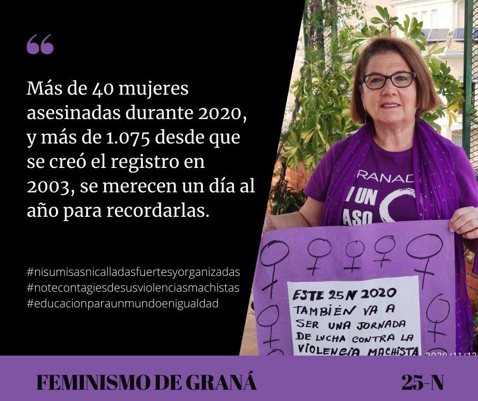 Manifestación feminista en Granada el 25N en el Día Internacional de la Eliminación de la Violencia contra la Mujeres