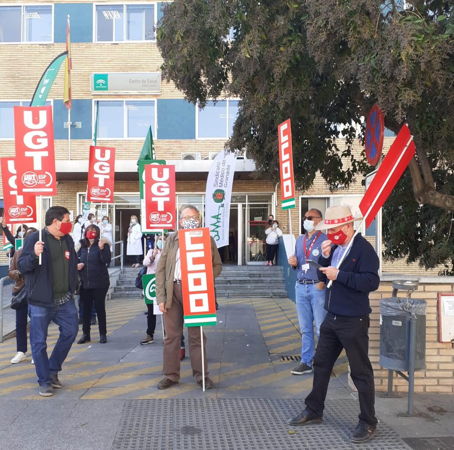 Concentraciones frente a centros sanitarios para que la Junta derogue la orden sobre descanso del personal