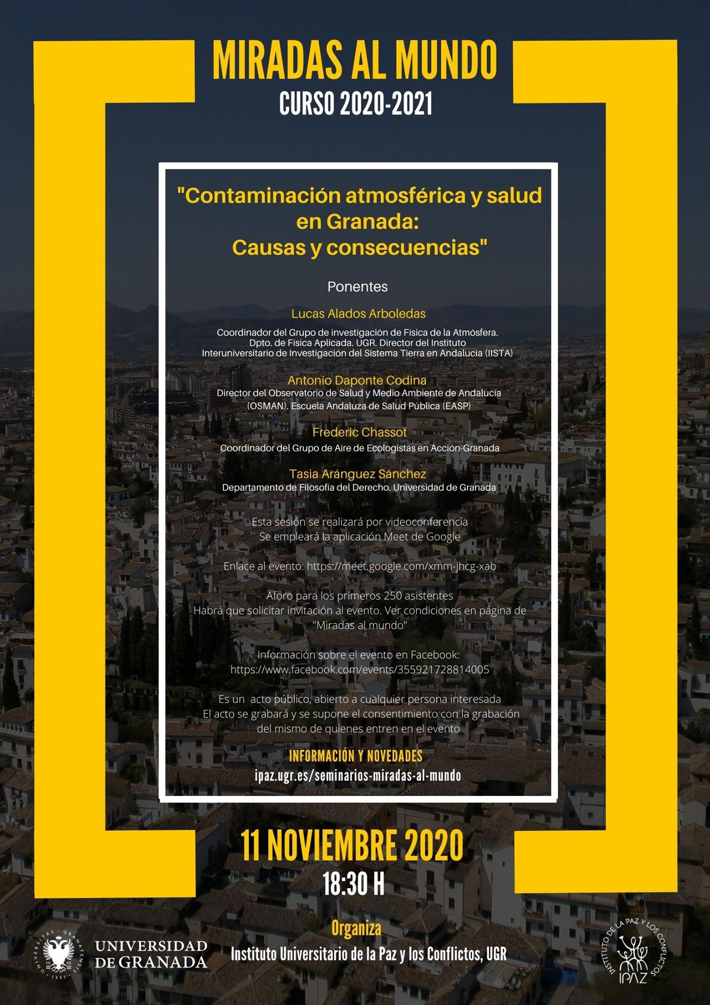 """""""Miradas al mundo"""" inaugura el nuevo curso con una sesión dedicada a la contaminación y la salud en Granada"""