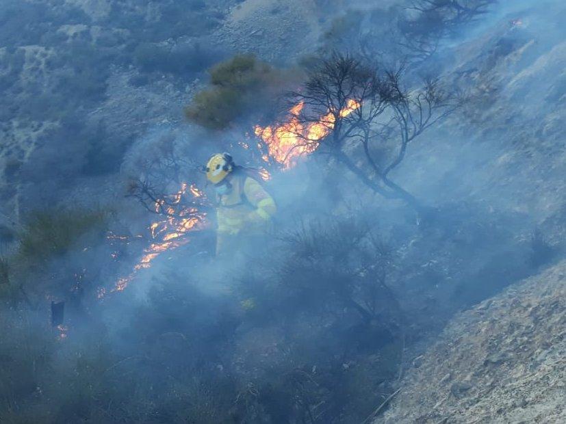 70 efectivos siguen trabajando en la extinción del incendio forestal de Órgiva