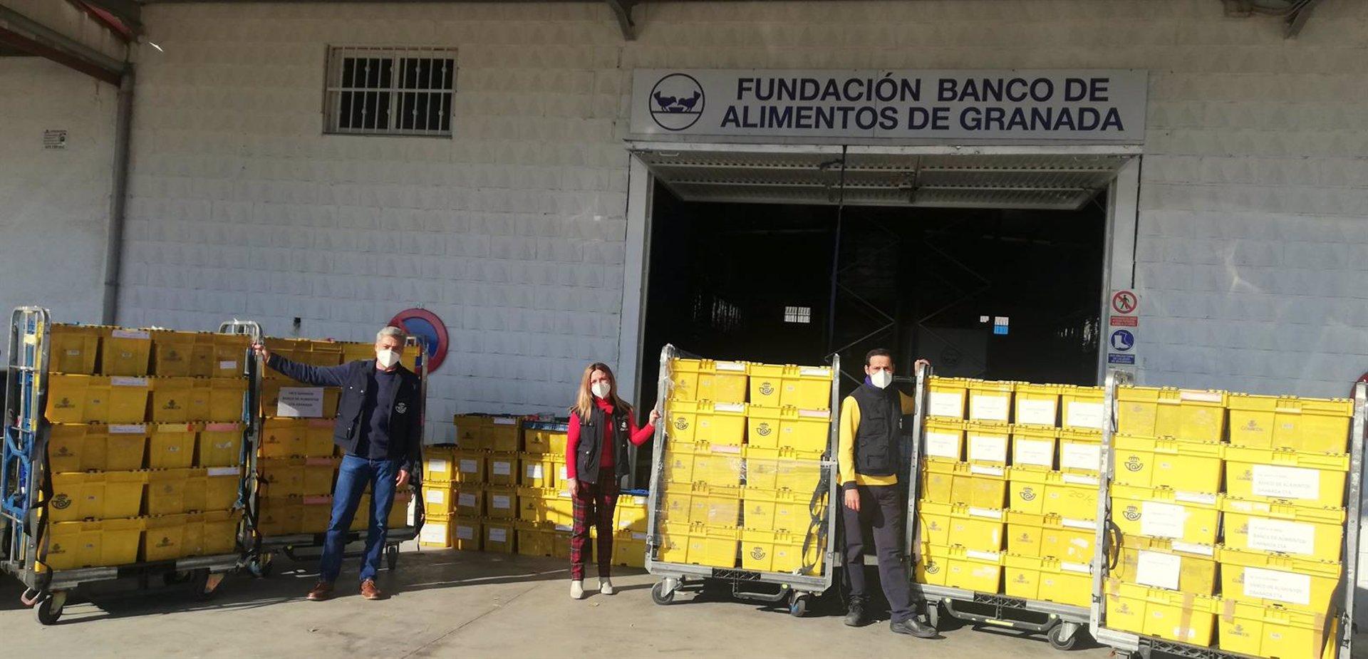 Trabajadores de Correos donan más de 2.000 kilos de comida para el Banco de Alimentos
