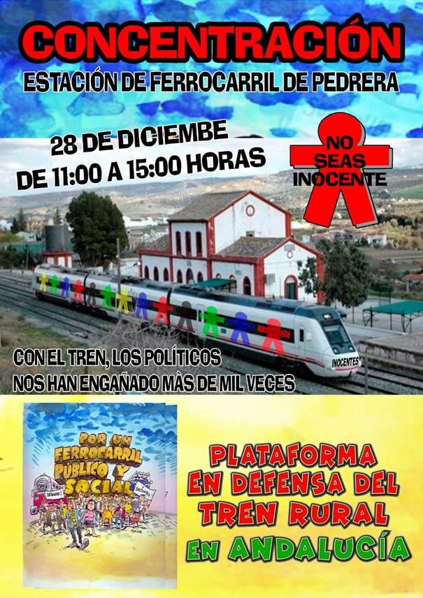 """""""Somos inocentes, no tontas ni tontos, acción andaluza en defensa del ferrocarril el 28 de diciembre."""
