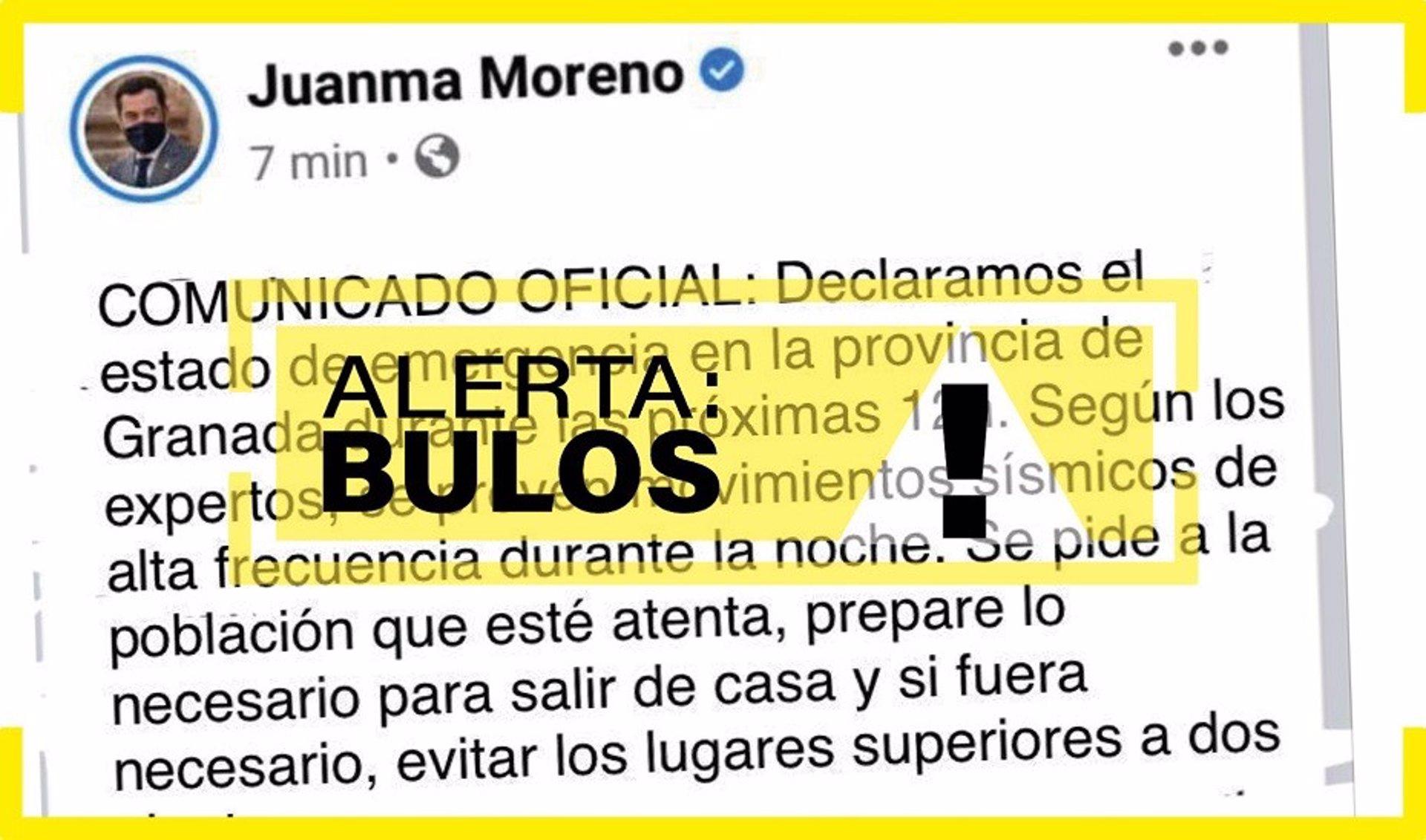 Alertan de un bulo con un falso tuit de Moreno declarando el estado de emergencia por los terremotos