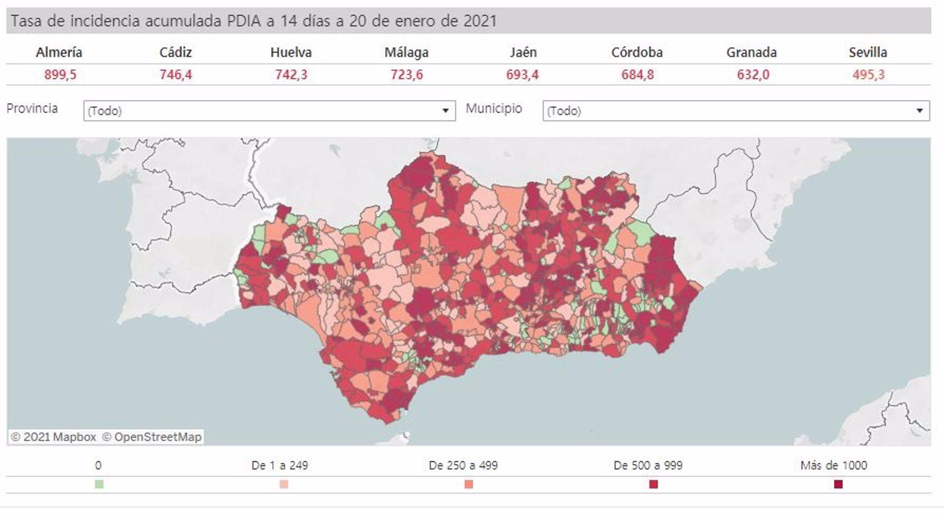 Andalucía suma otros 37 municipios con tasa para cierre perimetral y 22 para prohibir actividad no esencial