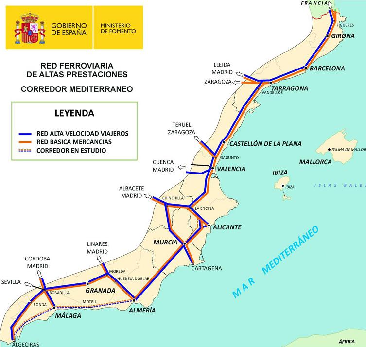 UGT reivindica un Corredor Mediterráneo por Granada como establece el proyecto de la UE de 2013