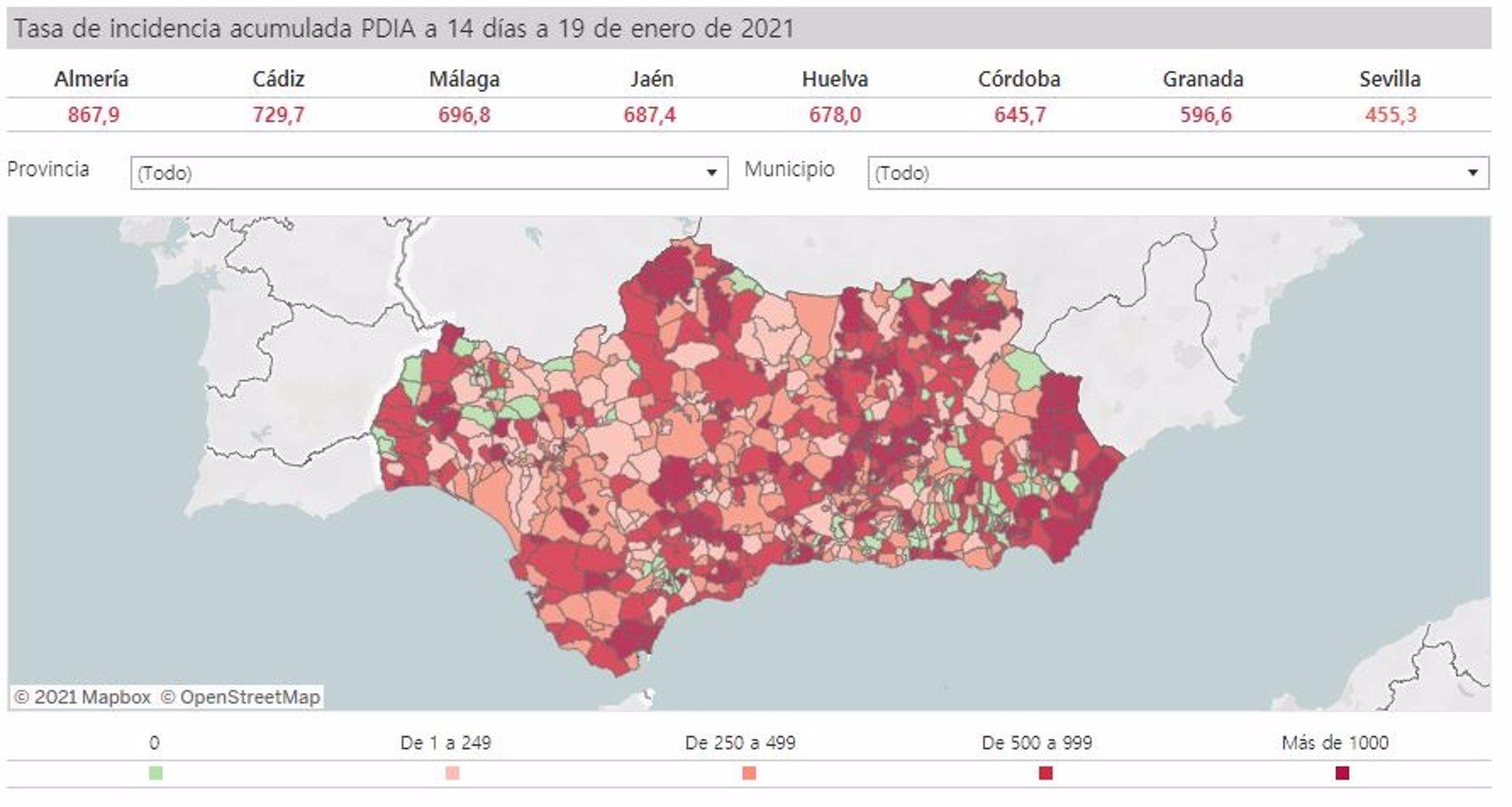 Todas las ciudades de más de 100.000 habitantes salvo Sevilla y Algeciras superan la tasa de 500 casos Covid