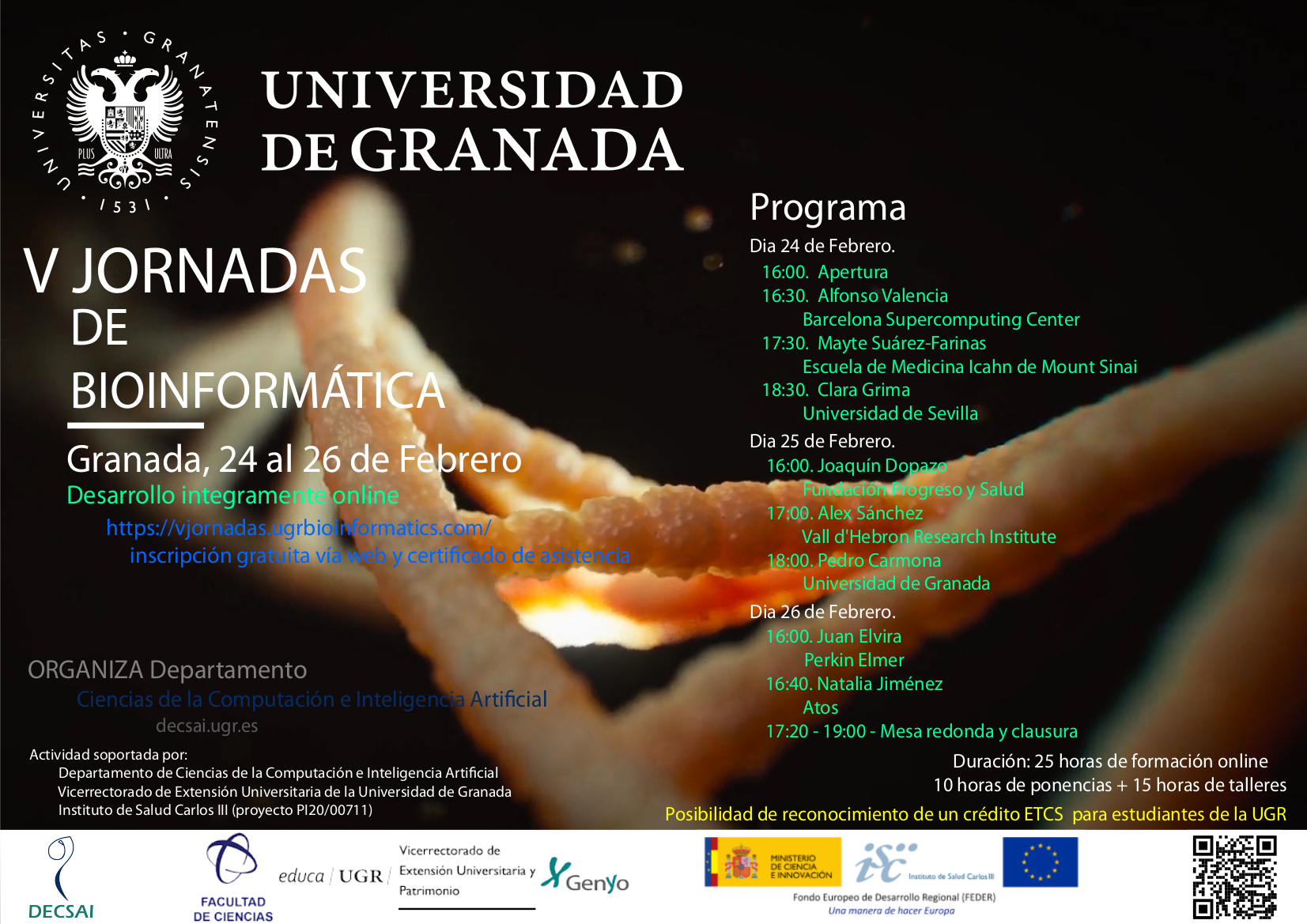 La Universidad de Granada celebra sus V Jornadas de Bioinformática