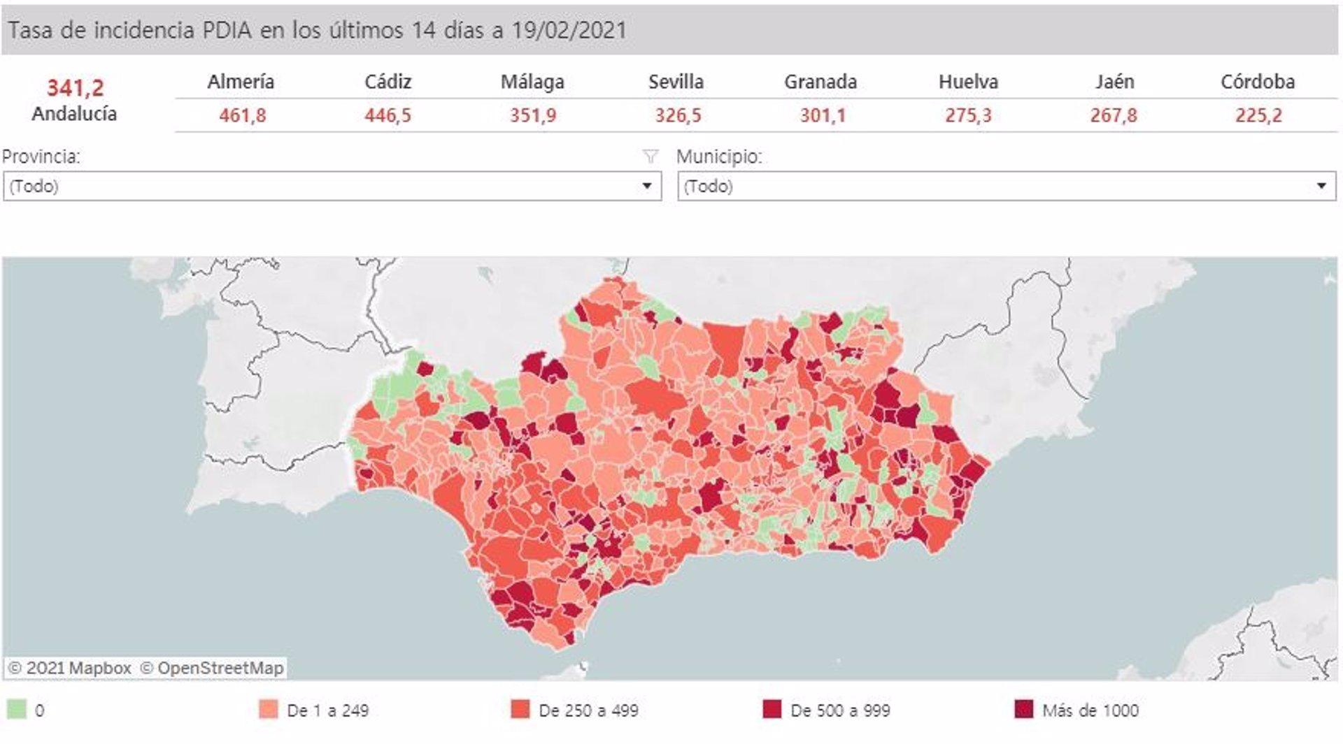 167 municipios andaluces se mantienen sin casos Covid en los últimos 14 días
