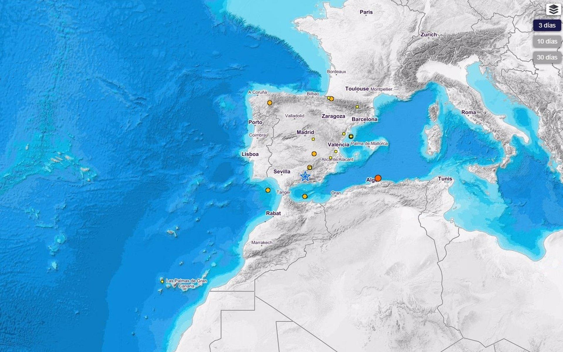 Granada registra nuevos terremotos de baja intensidad a lo largo del día