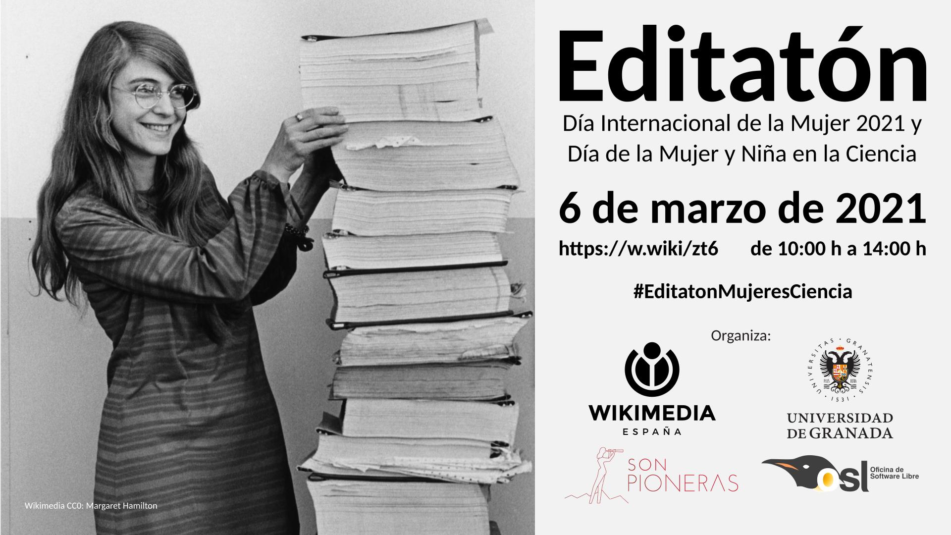 La Oficina de Software Libre de la UGR organiza el Editatón Mujeres en la Ciencia para aumentar la presencia de la mujer en Wikipedia